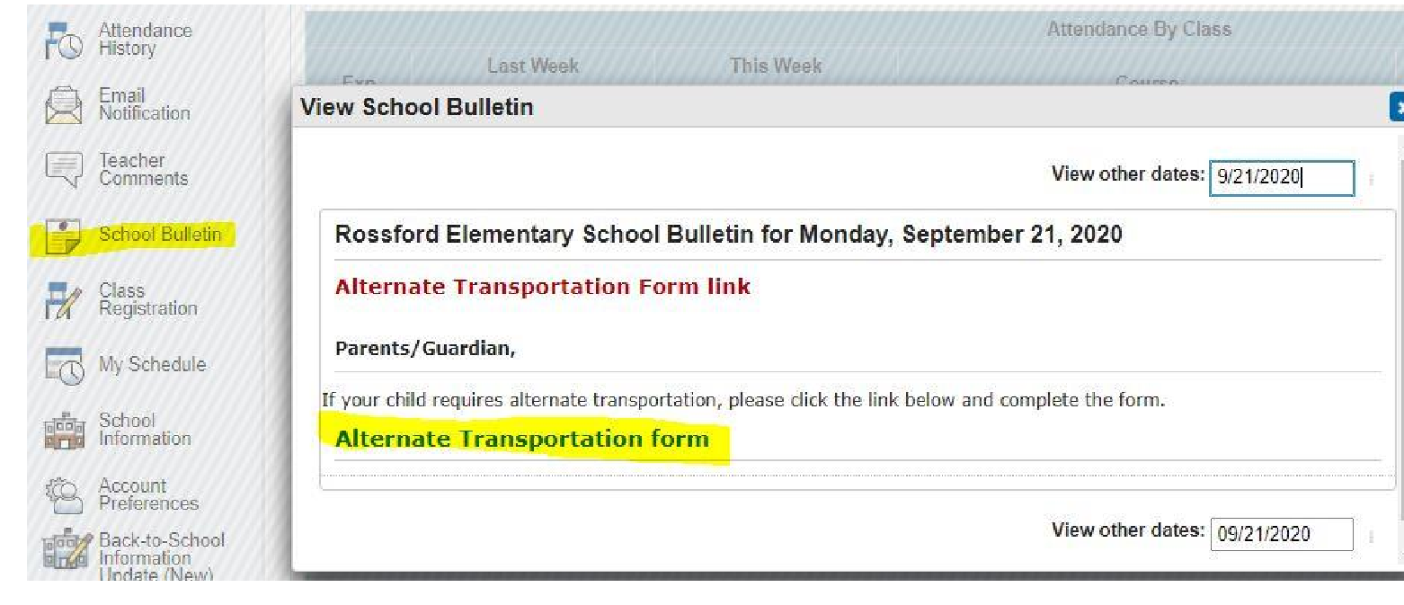 Alternate Transportation Form Screenshot