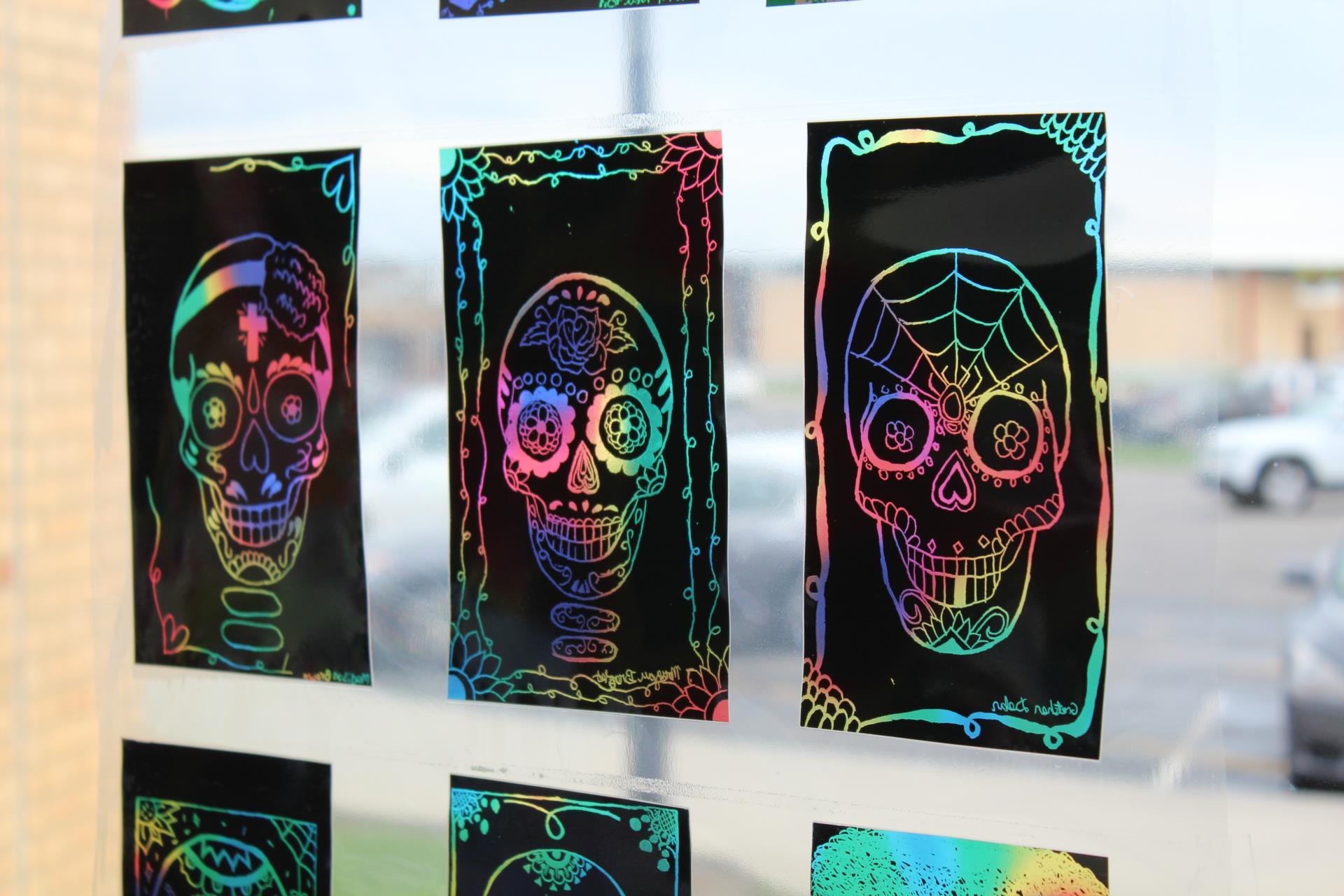 Colorful transparent skull artwork