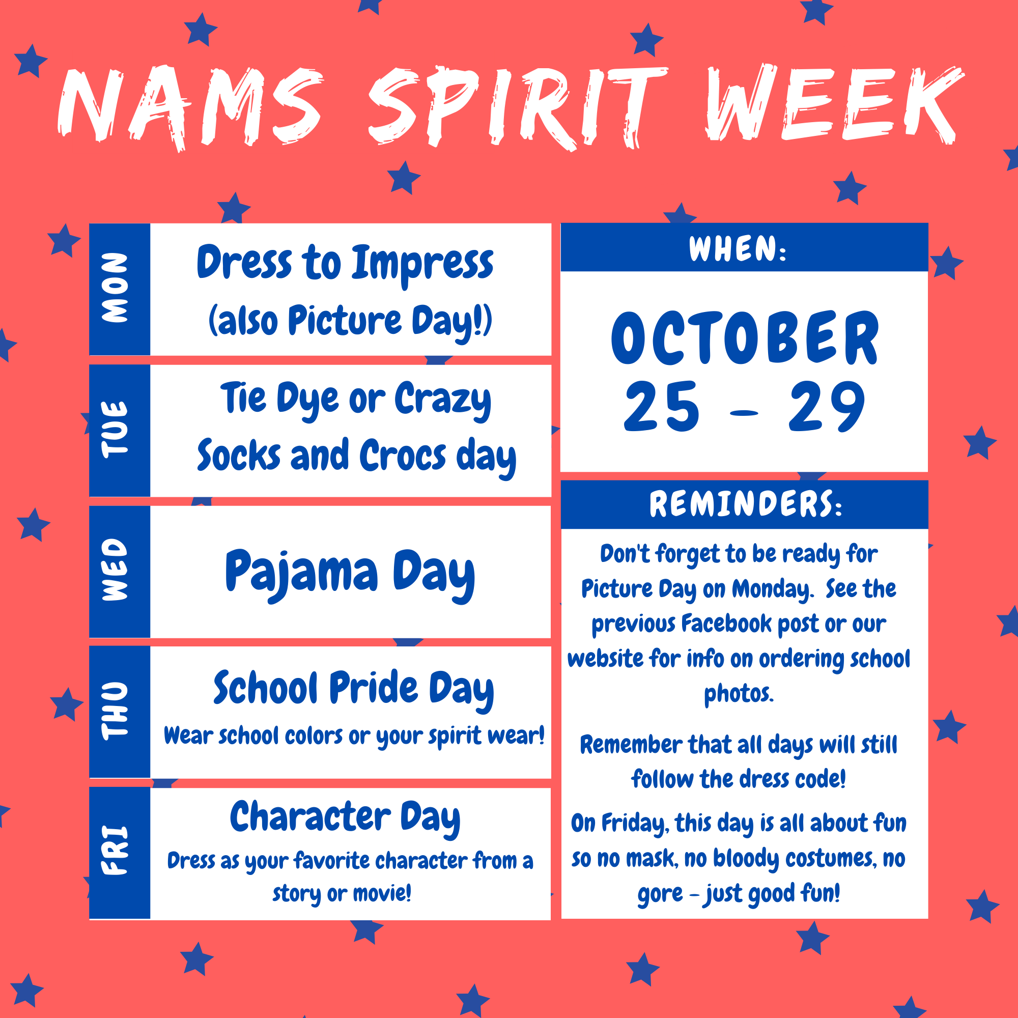 This is an infographic with pink backgorund and blue stars with the text from the article pasted in to promote spirit week.