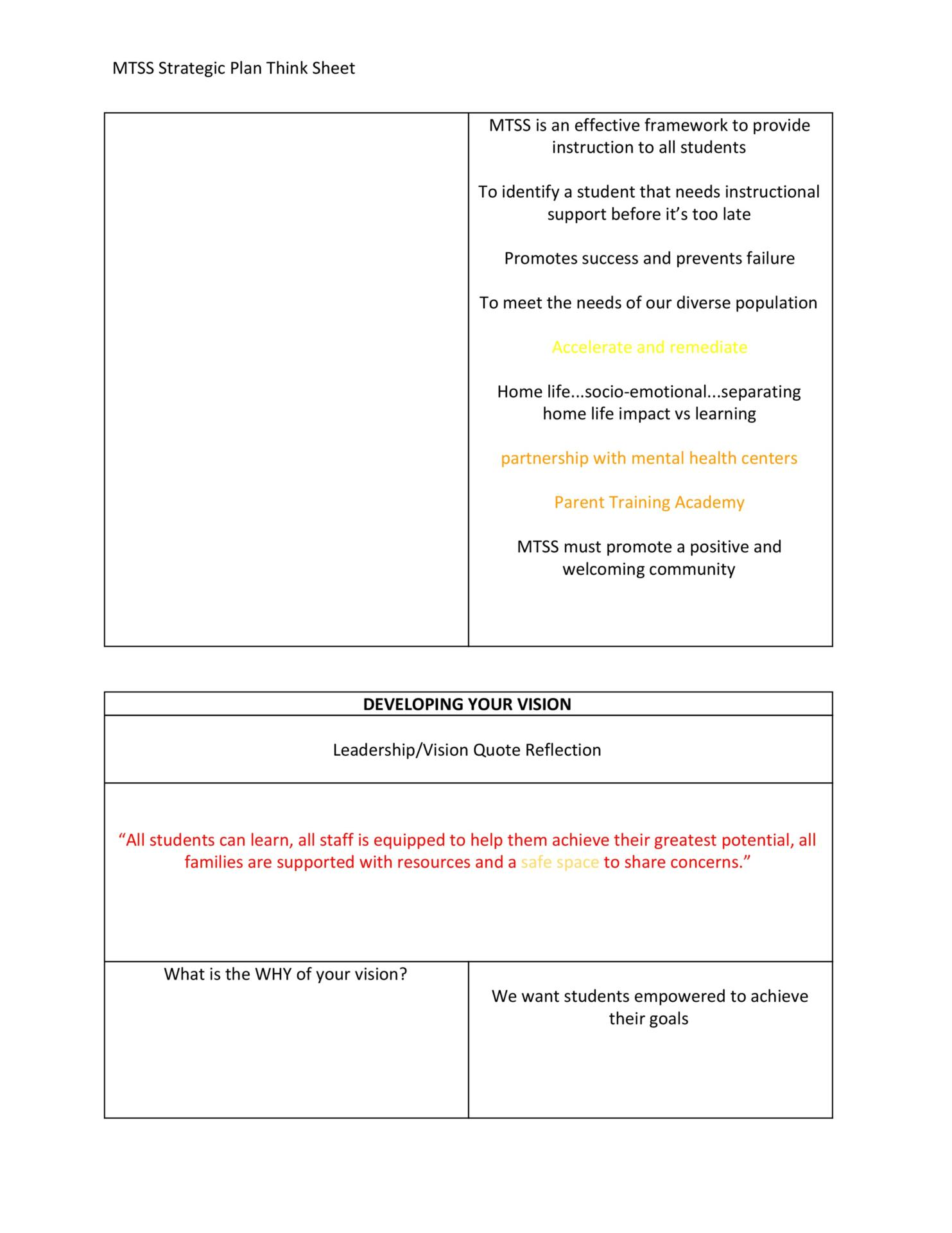 MTSS Strategic Plan Think Sheet Page 2