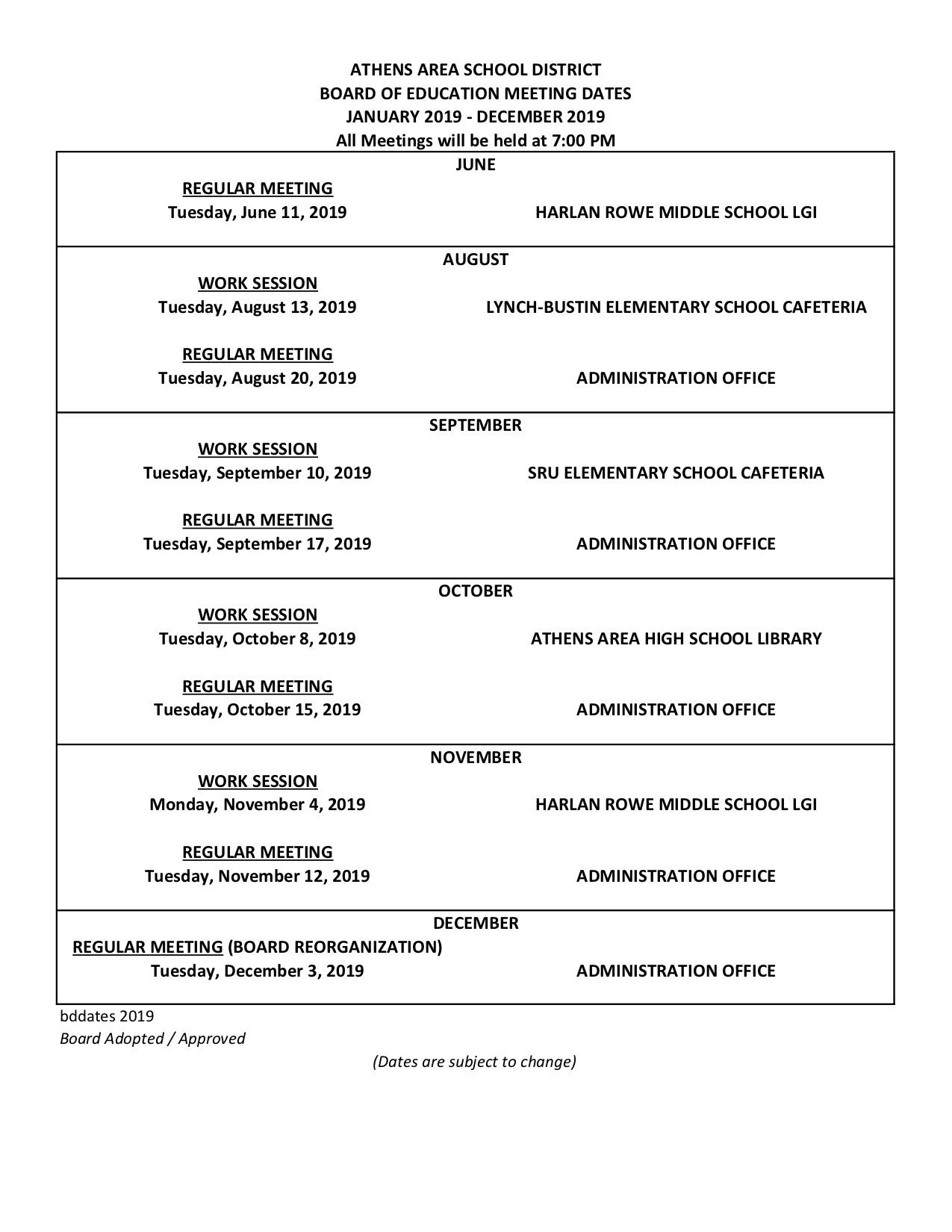Jul/Dec Board Meeting Dates