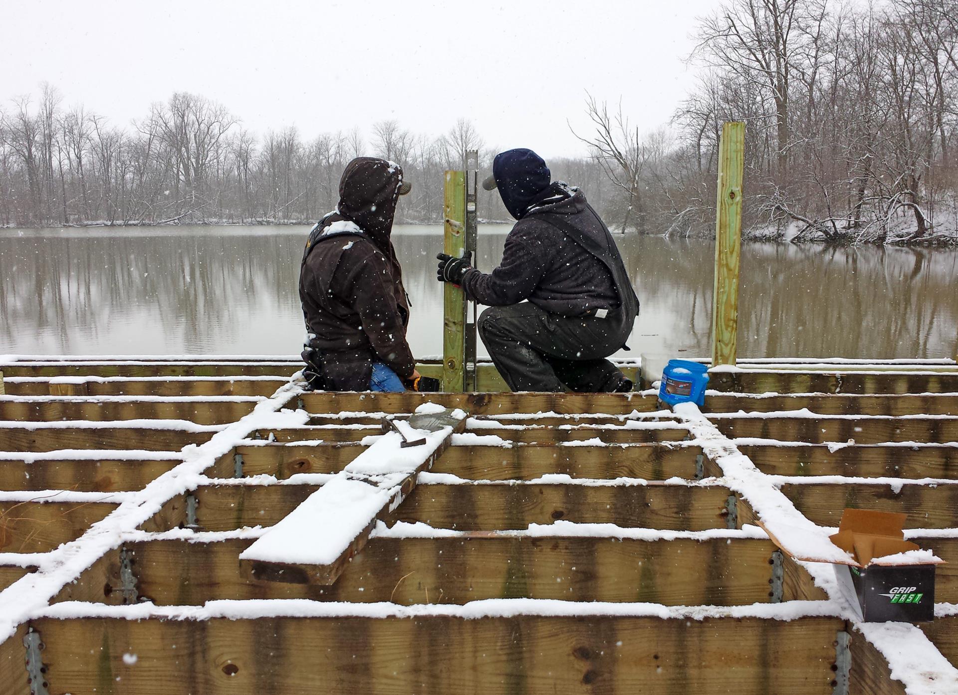 people on dock