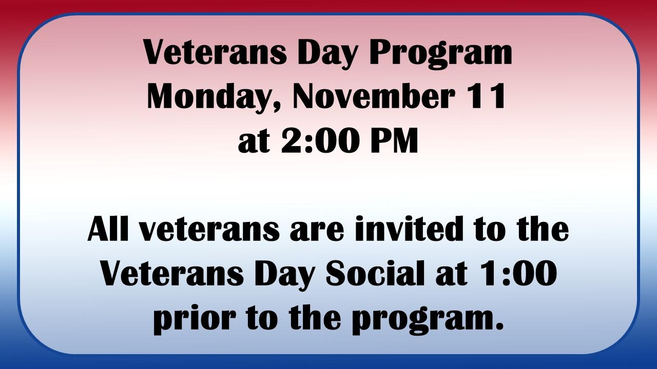 Veterans Day 2019 Nov. 11 at 2:00 pm