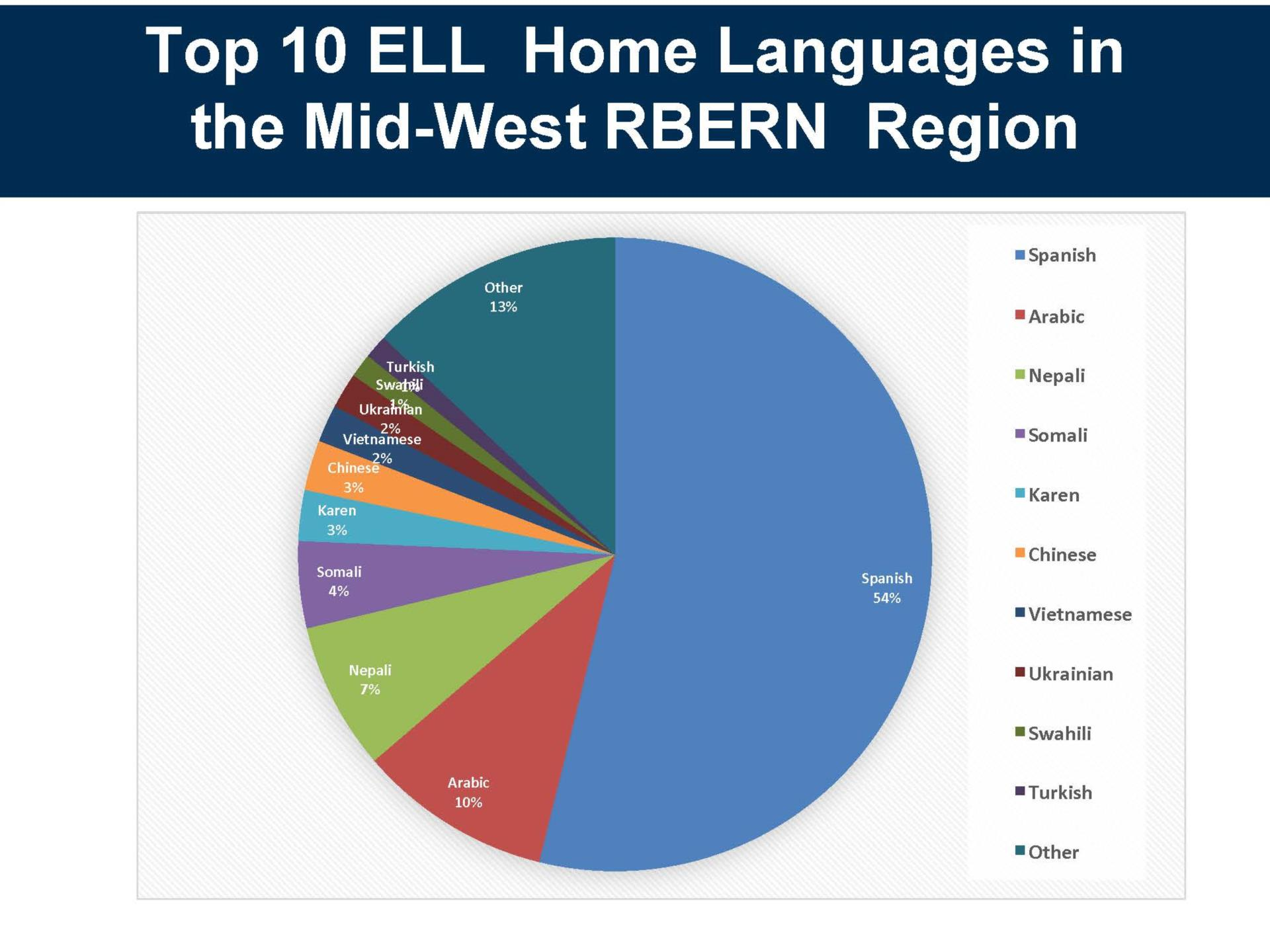 Chart showing top 10 languages in the RBERN region