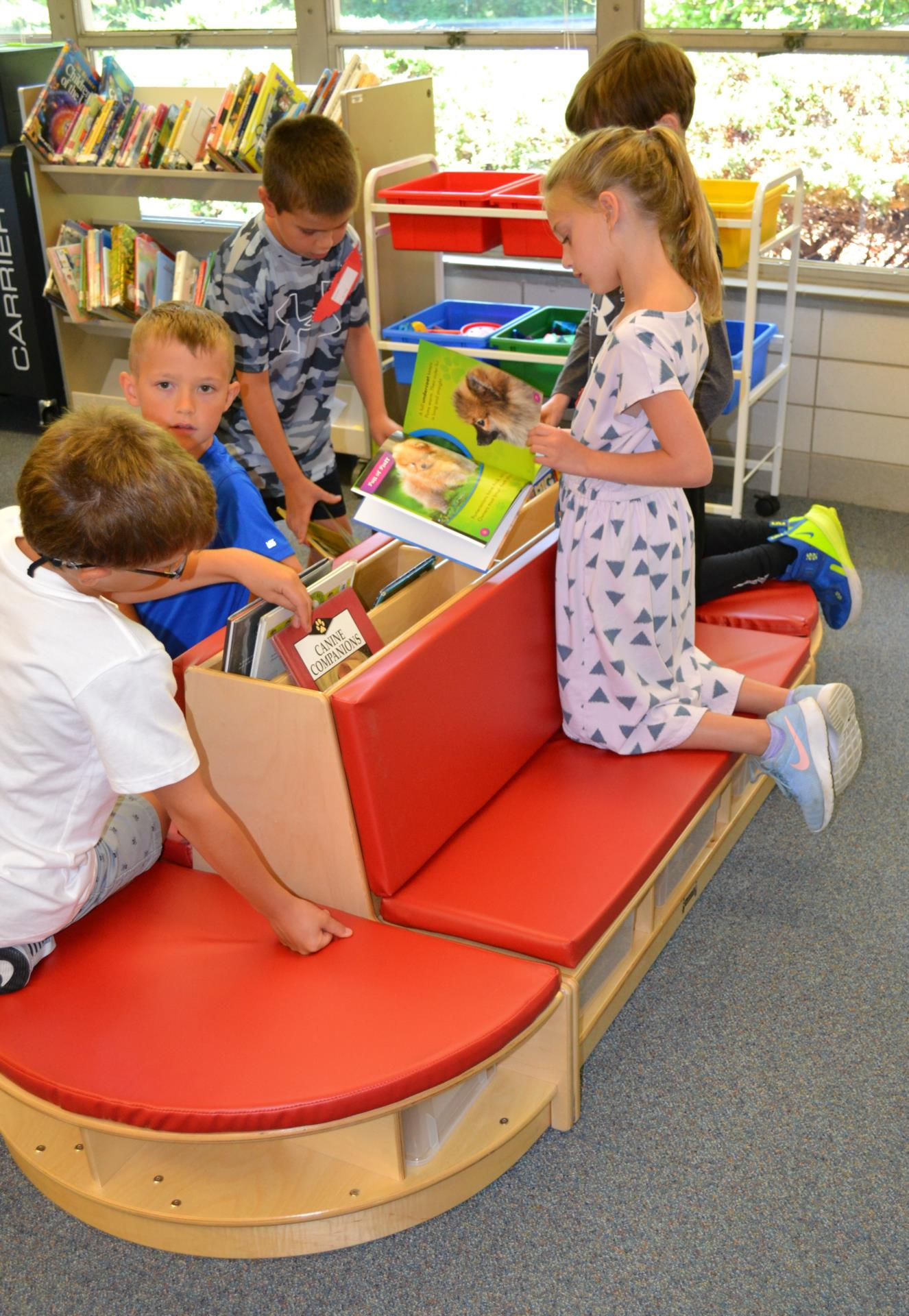 library bench in use