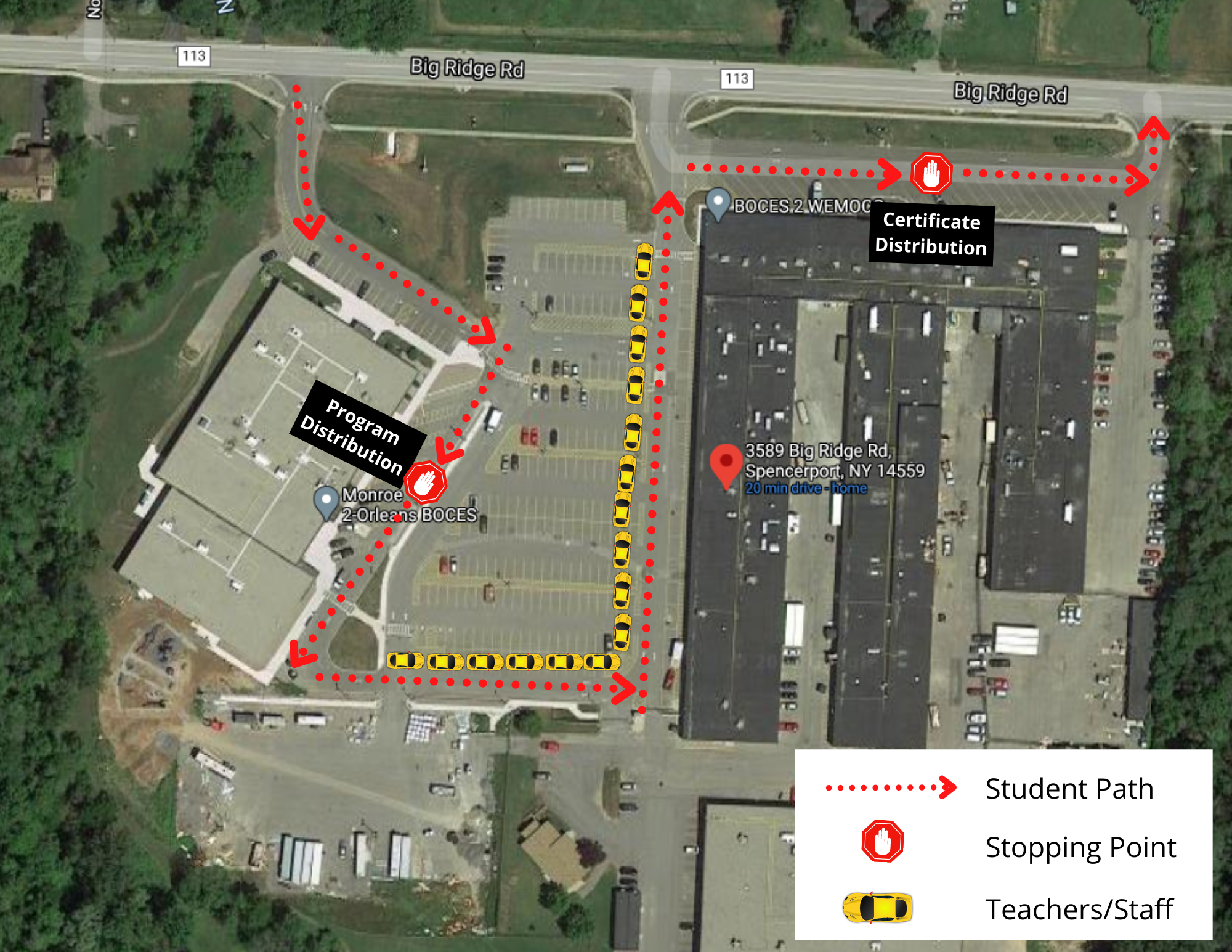 Aerial view of the BOCES campus with a dotted line showing the flow of traffic for the Recognition Celebration