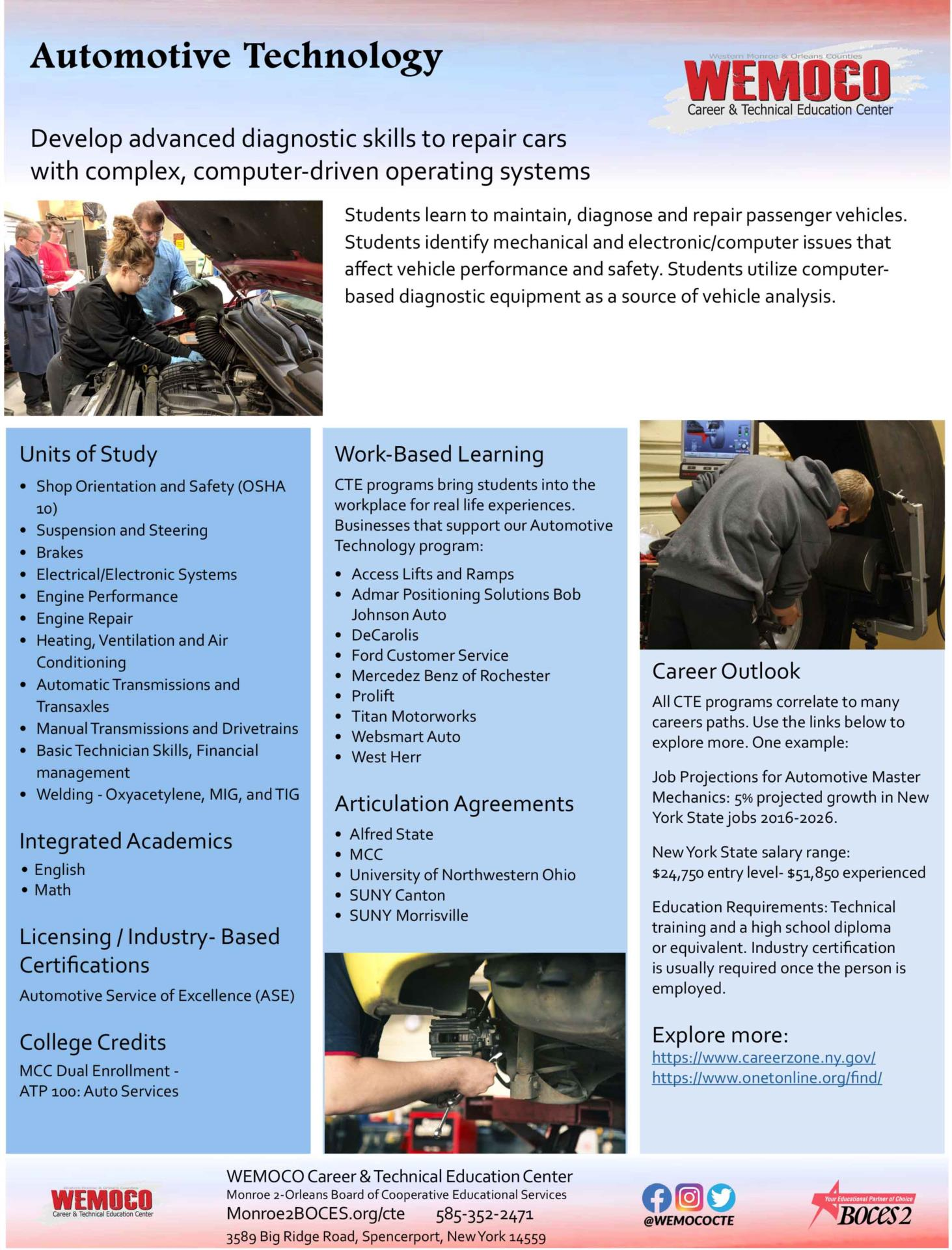 Download a PDF overview of the Automotive Technology program information