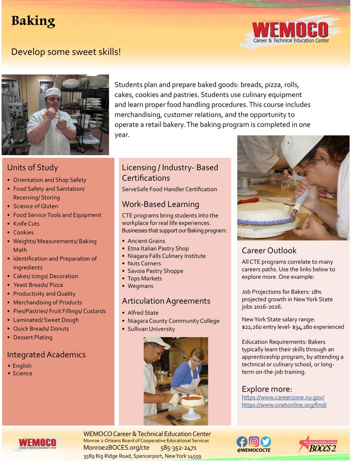 Download a PDF overview of the Baking program information