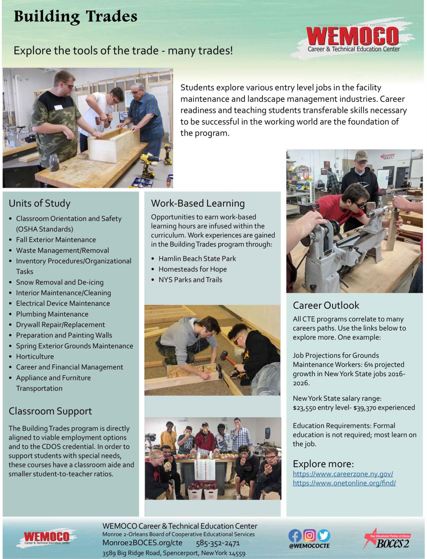 Download a PDF overview of the Building Trades program information