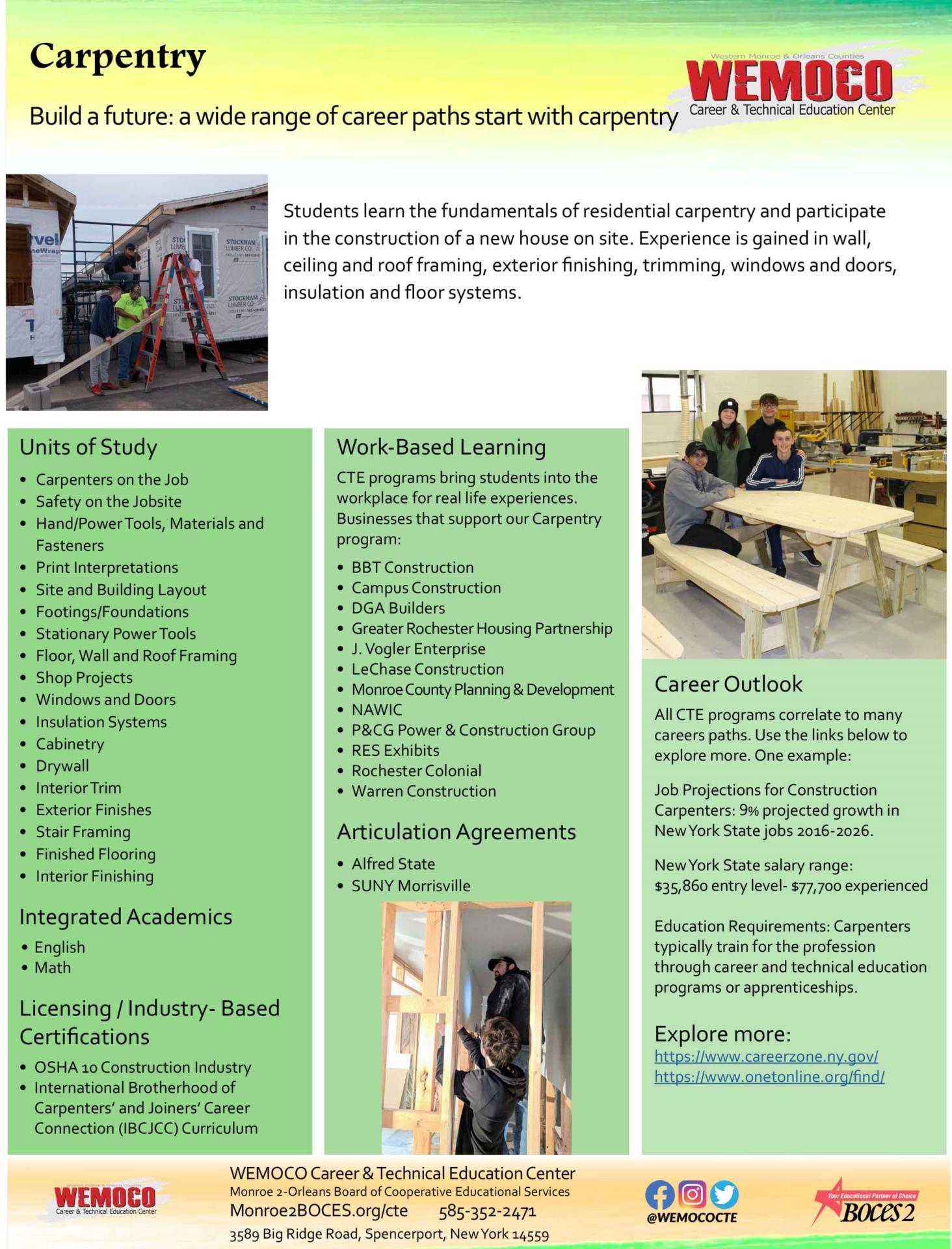 Link to Carpentry Info Sheet - PDF