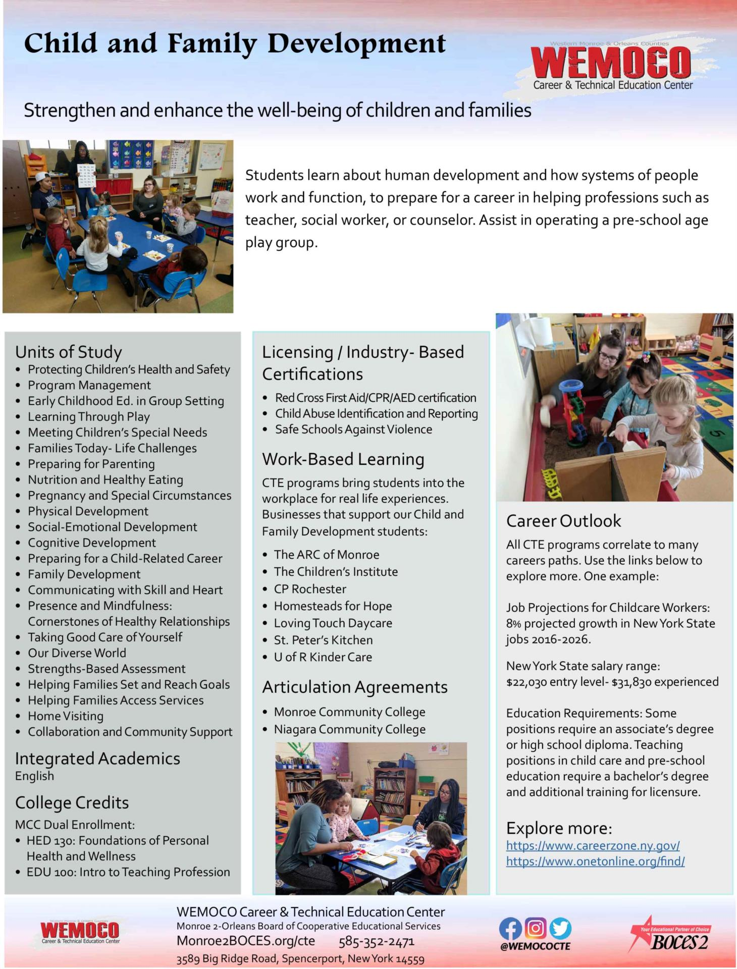 Download a PDF overview of the Child and Family Development program information