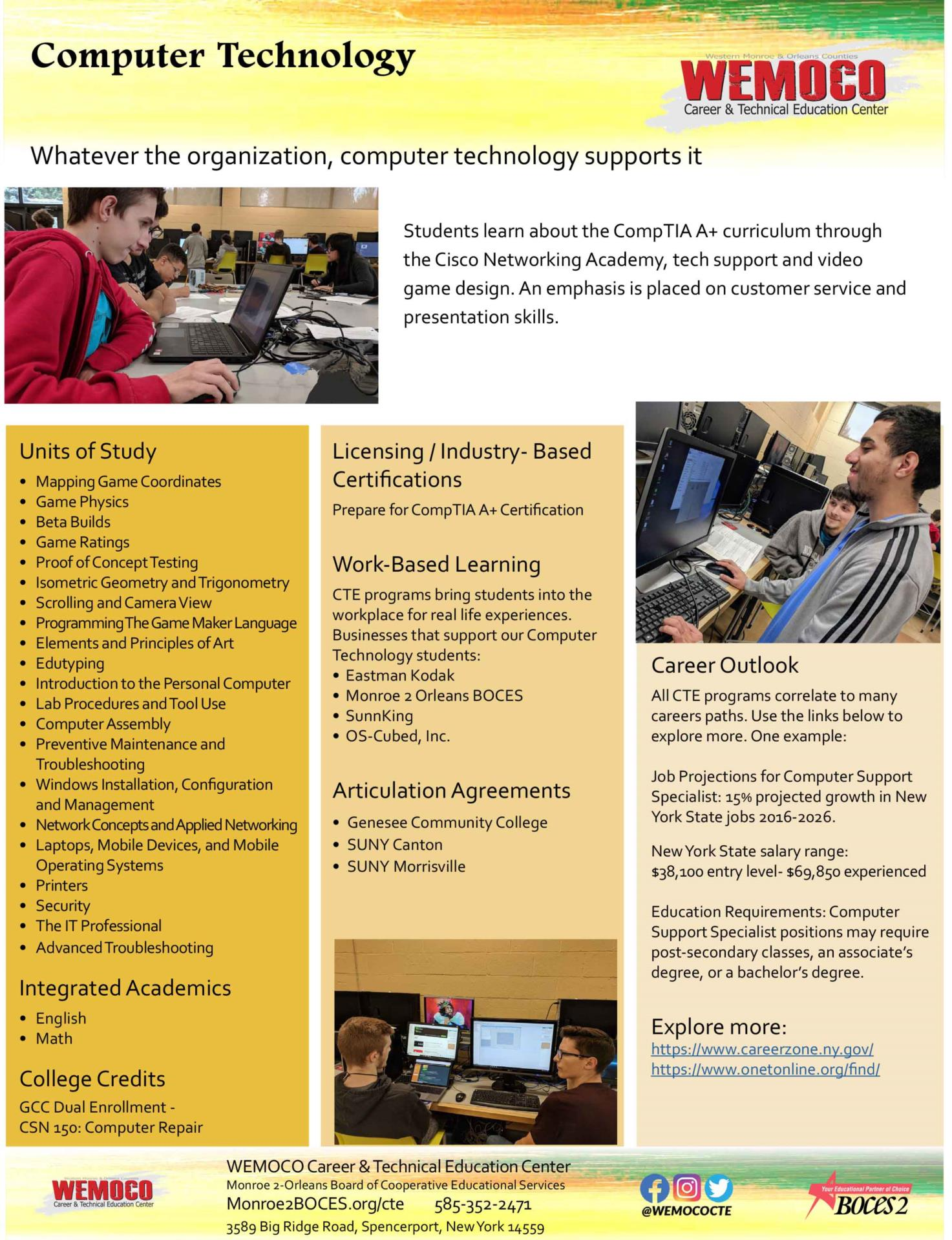 Download a PDF overview of the Computer Technology program