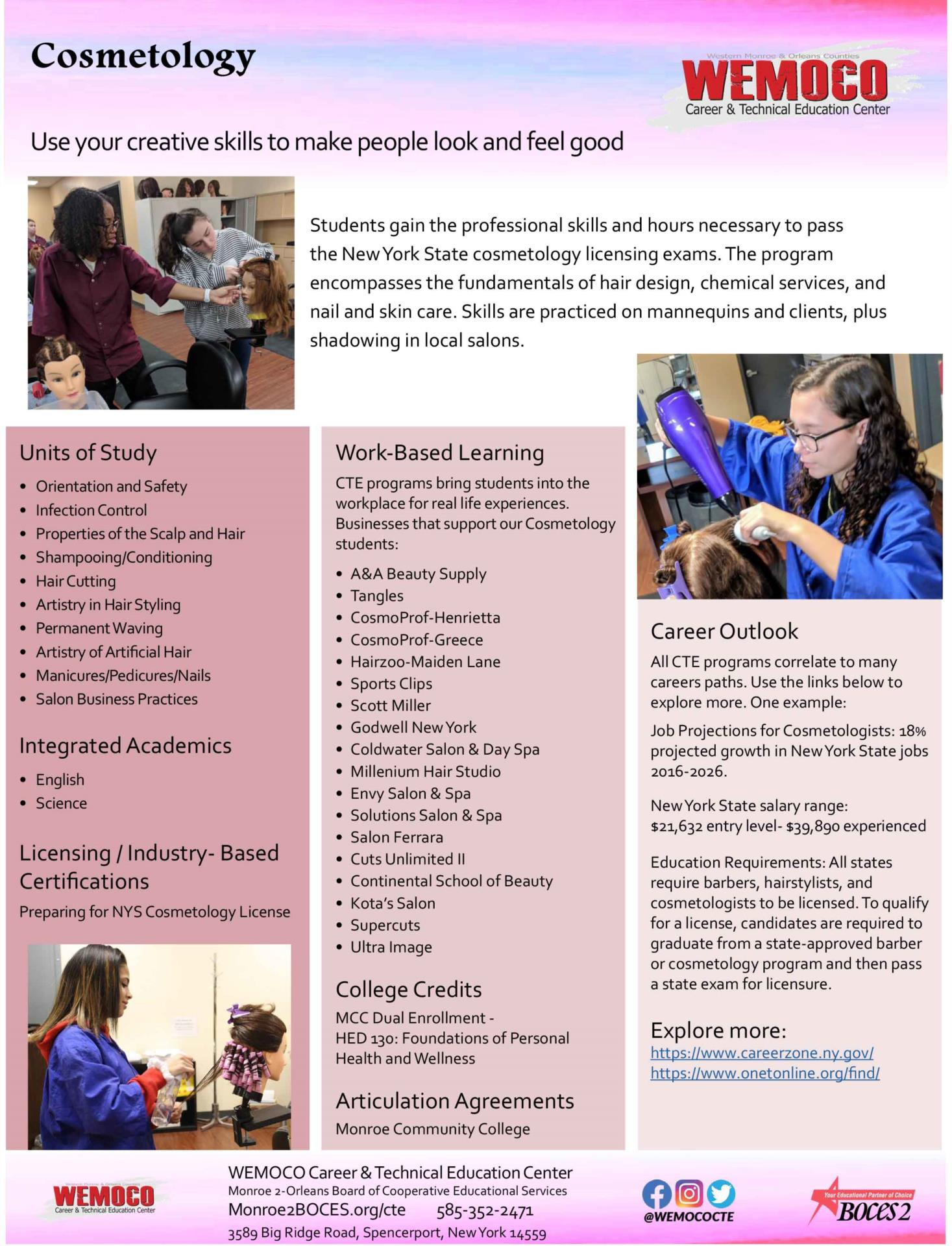 Download a PDF overview of the Cosmetology program information
