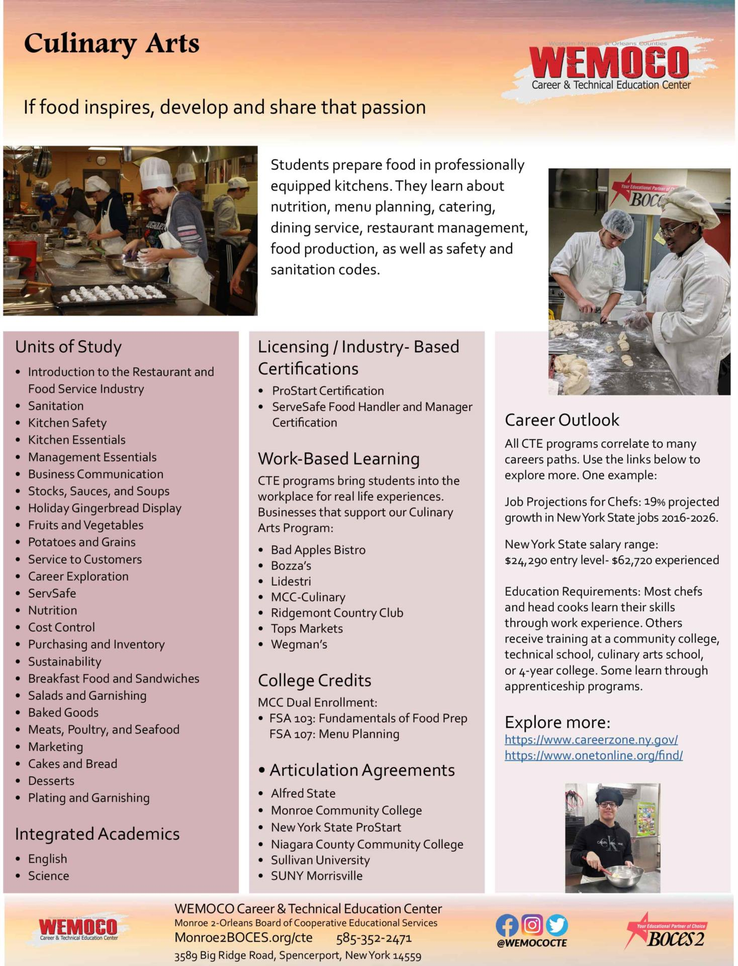 Download a PDF overview of the Culinary Arts program information