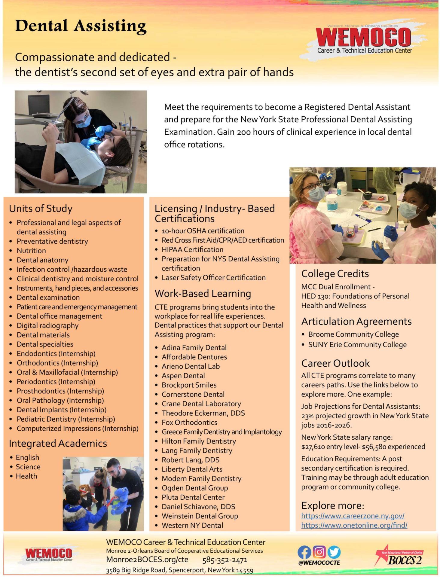 Download a PDF overview of the Dental Assisting program information