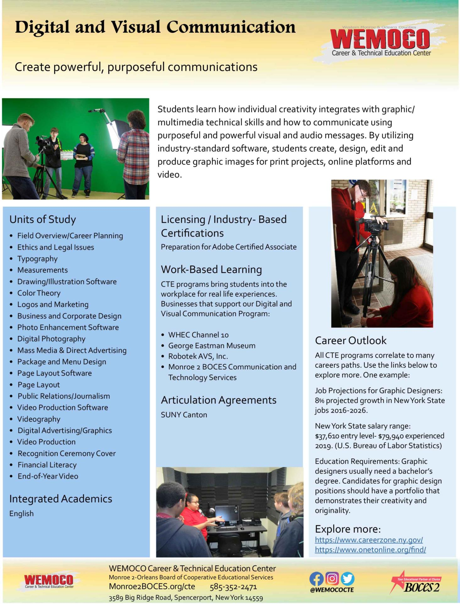 Download a PDF overview of the Digital and Visual Communication program information
