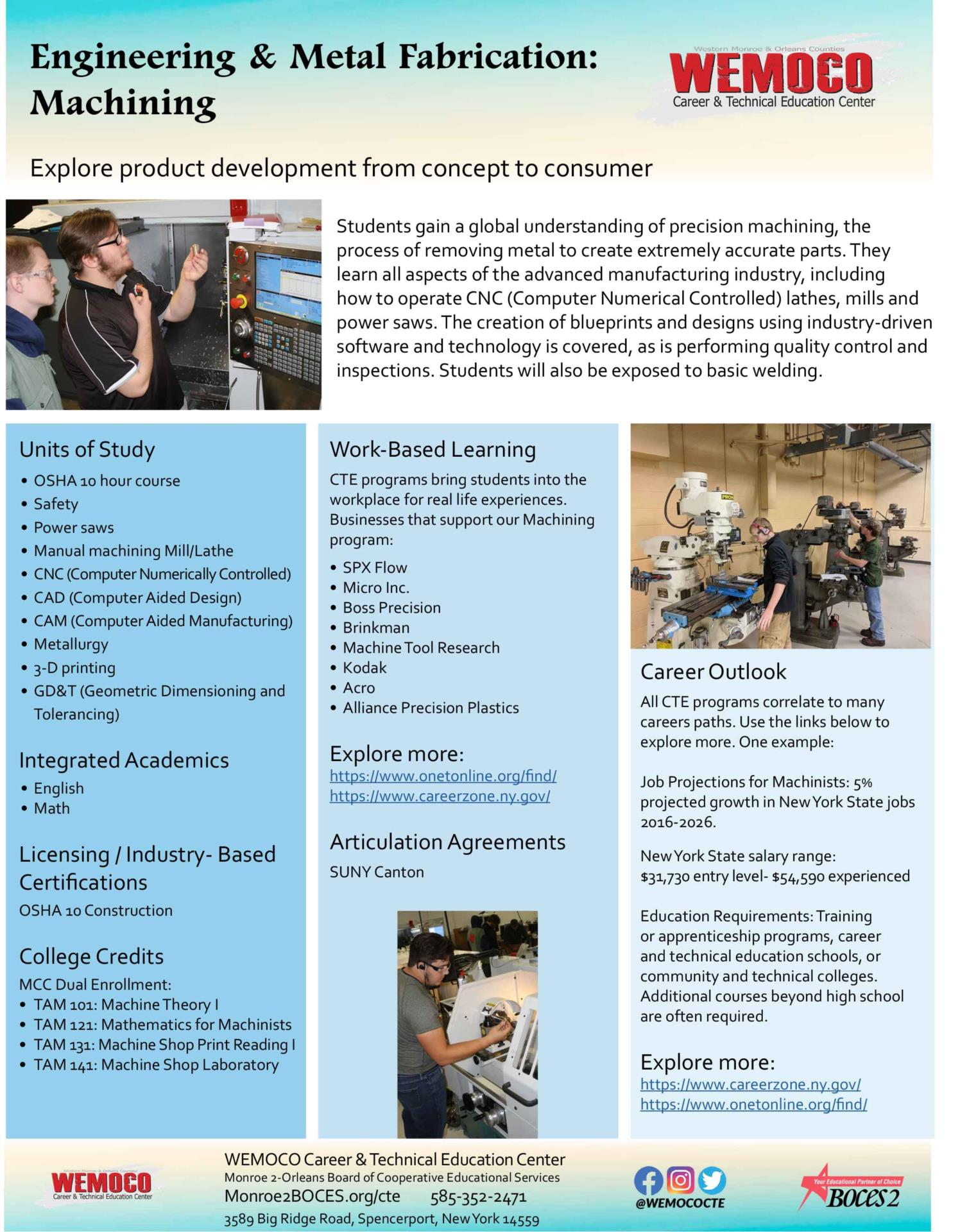 Download a PDF overview of the Engineering and Metal Fabrication: Machining program information