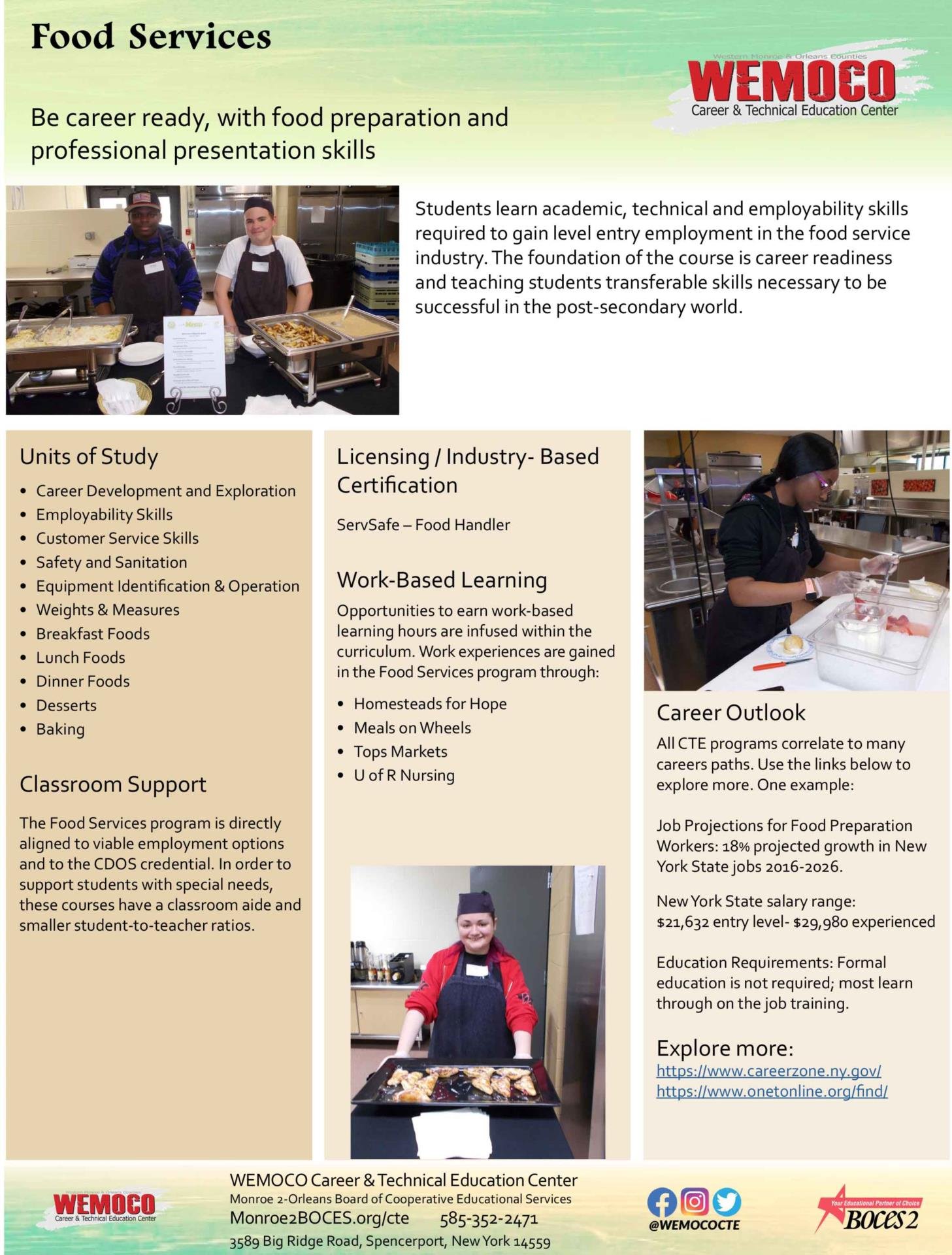 Download a PDF overview of the Food Services program information