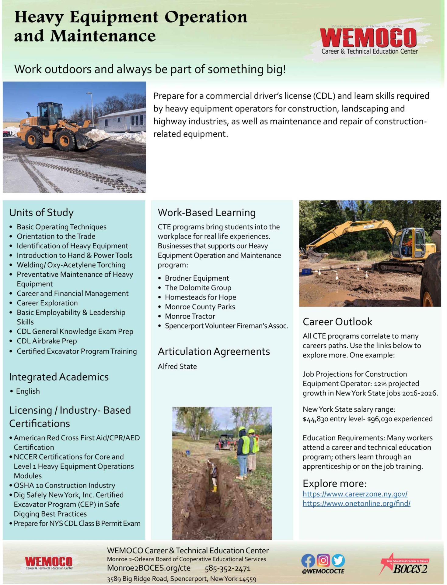 Download a PDF overview of the Heavy Equipment Operation and Maintenance program information