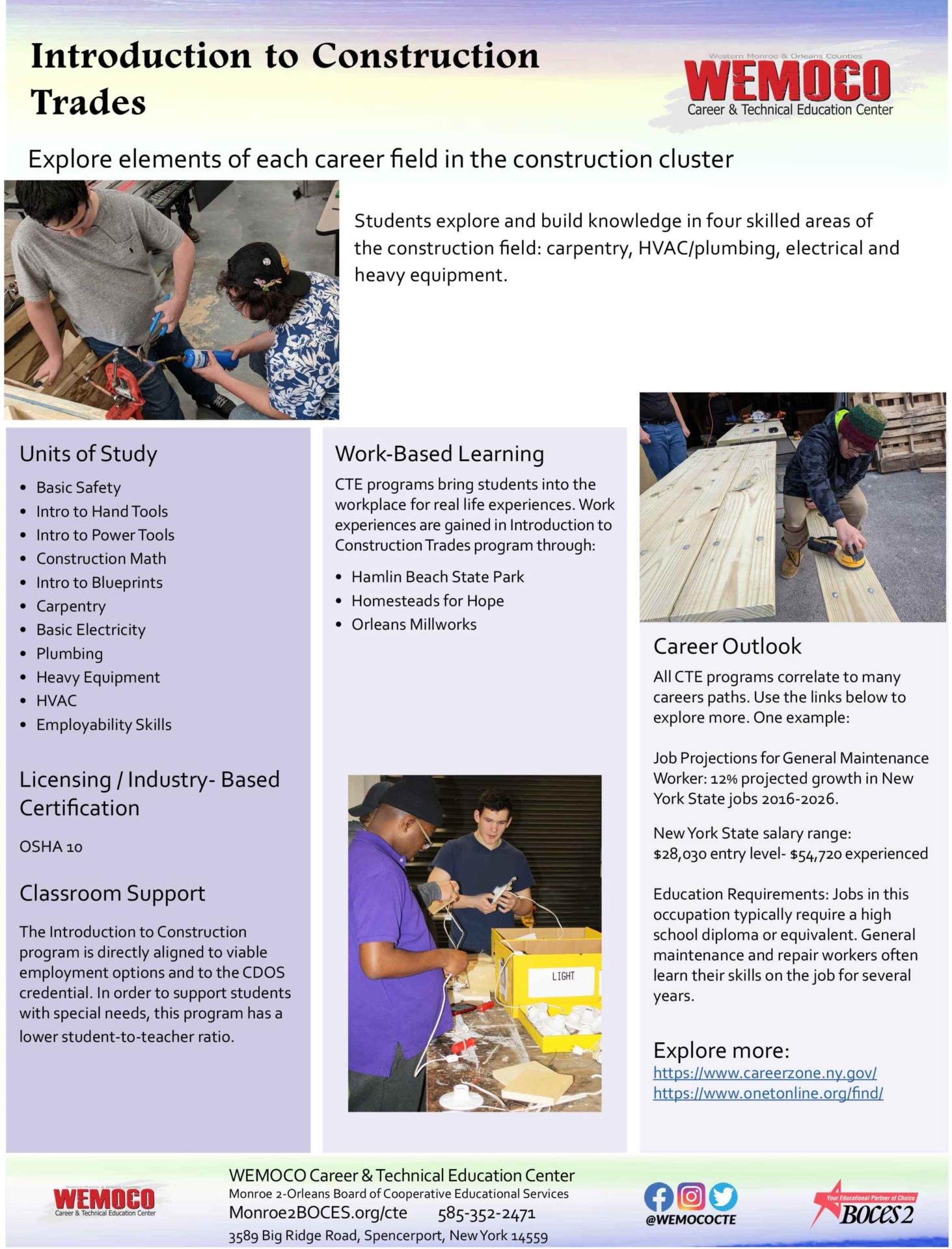 Download a PDF overview of the Introduction to Construction Trades program information