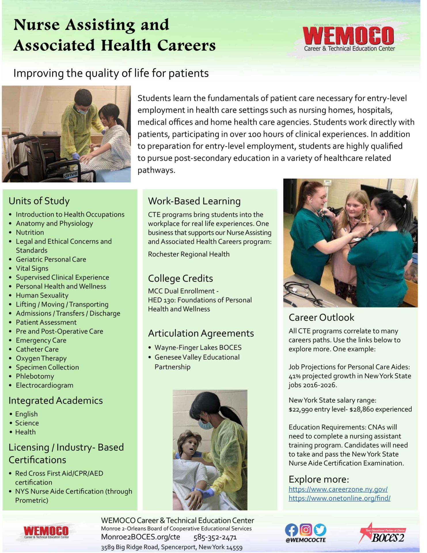 Download a PDF overview of the Nurse Assisting and Associated Health Careers program information