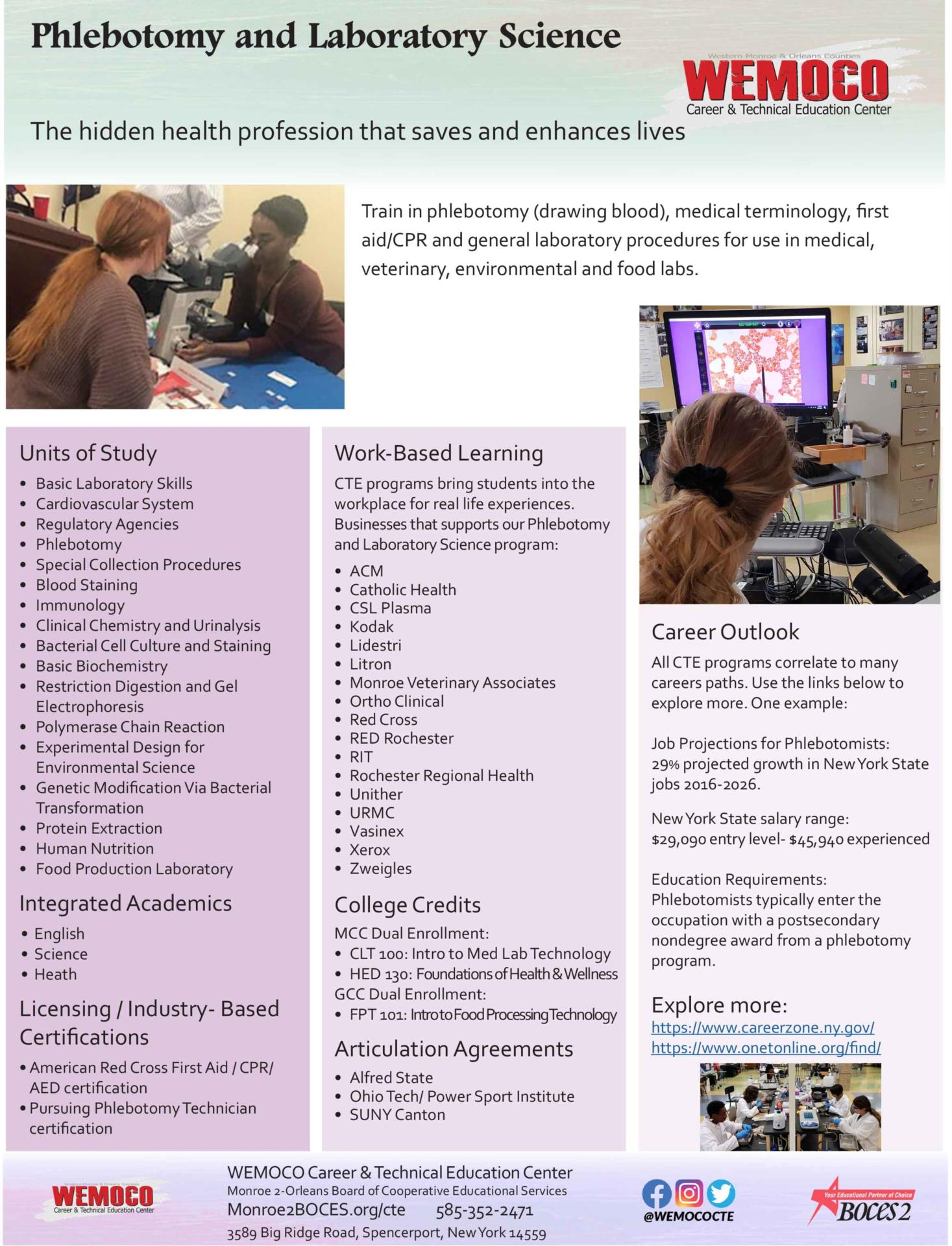 Download a PDF overview of the Phlebotomy and Laboratory Science program information