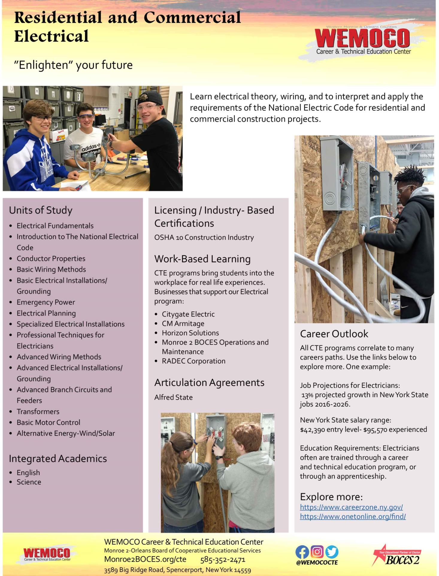 Download a PDF overview of the Residential and Commercial Electrical program information