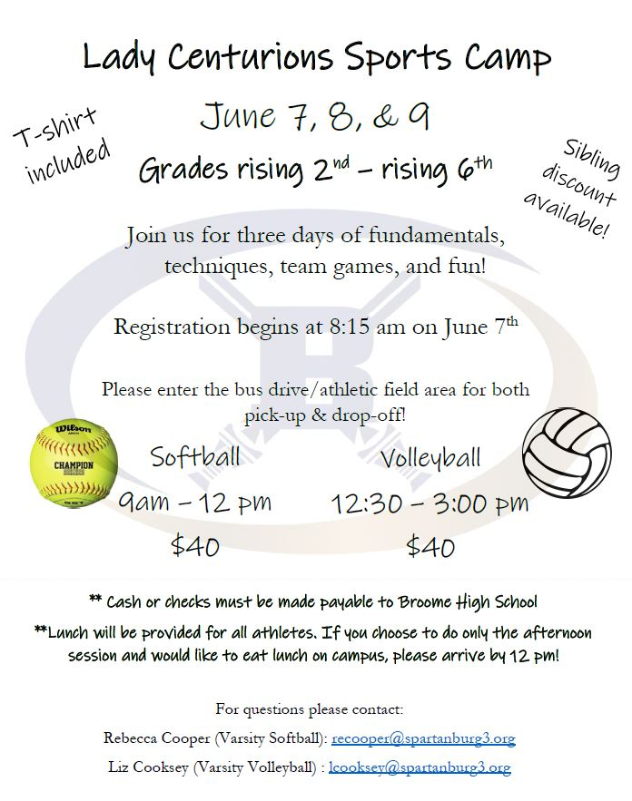 softball volleyball sports camp for lady centurions june 7, 8 and 9