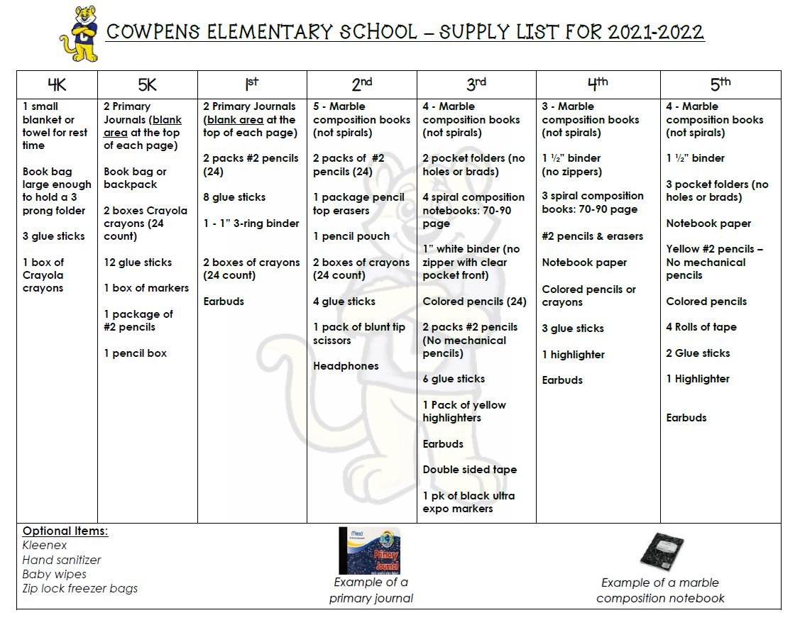 ces supply list- email amyles@spartanburg3.org for an ada friendly version of this list