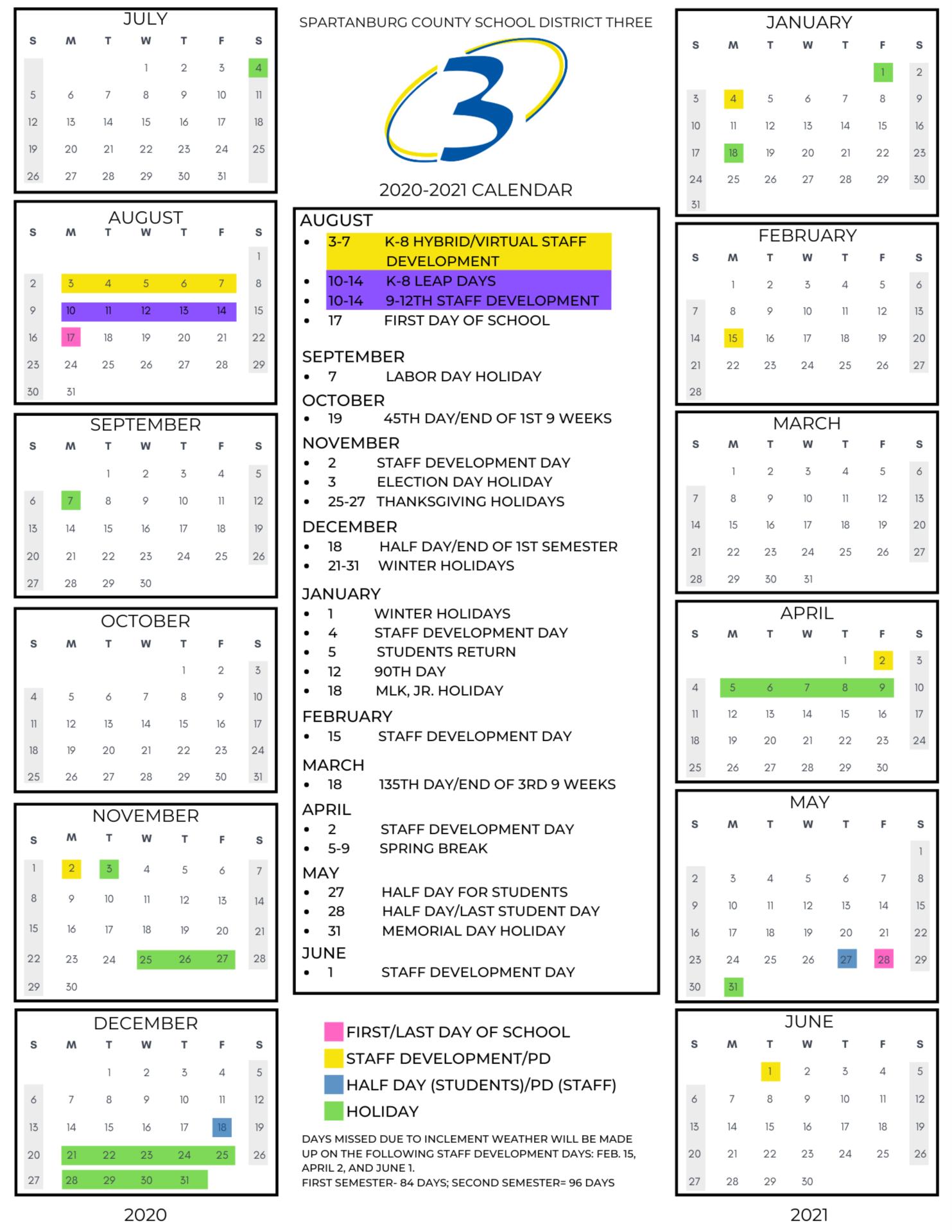 Spartanburg District 6 Calendar 2021 2022 | 2021 Calendar