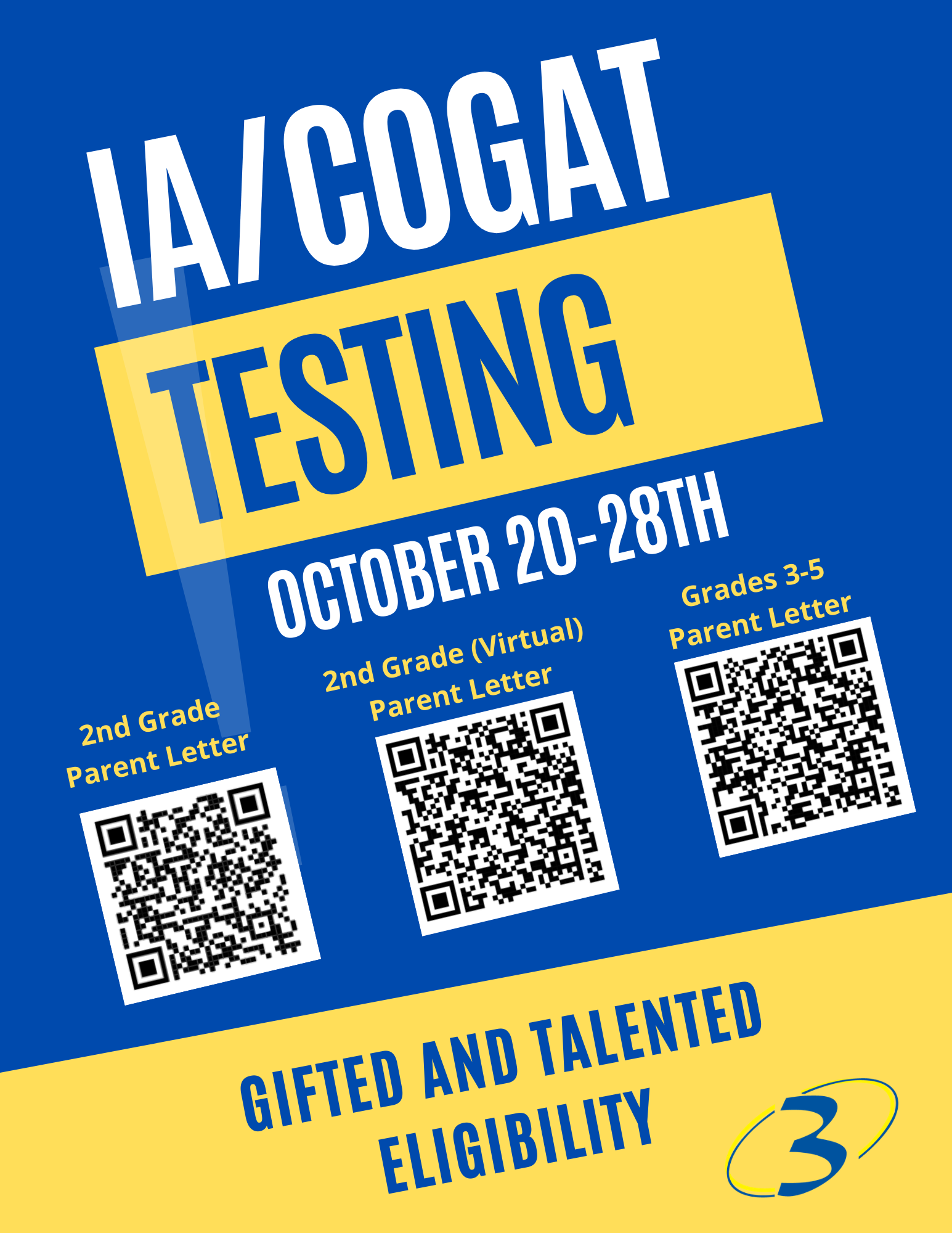 IA-CogAT testing information. Please email amyles@spartanburg3.org for an ADA friendly version of this PDF.