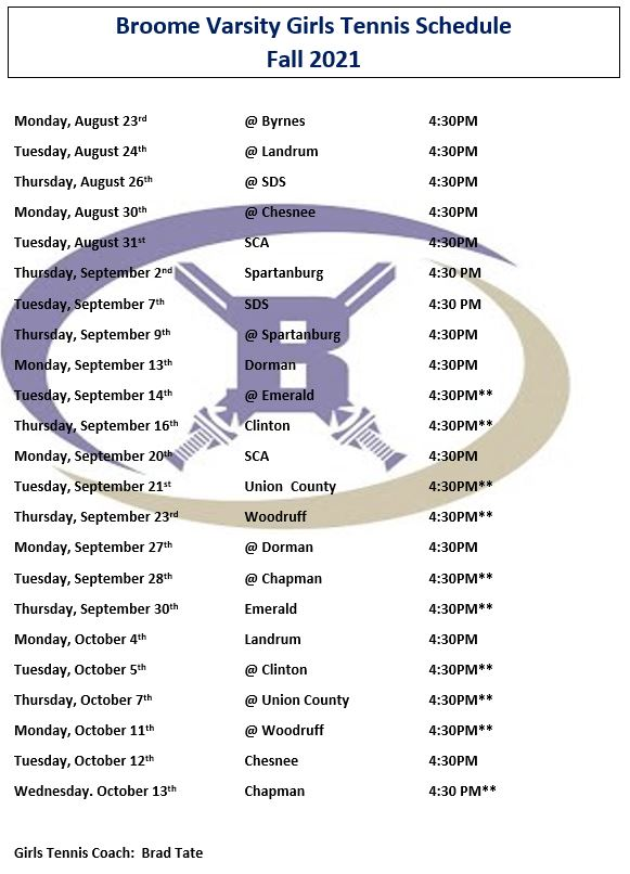 tennis schedule. email amyles@spartanburg3.org for an ada friendly version of this schedule