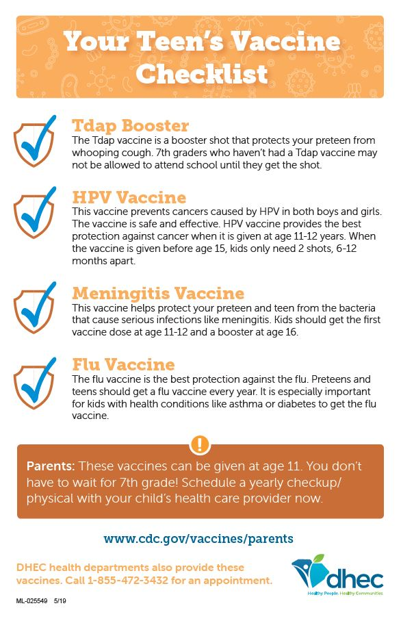 vaccine checklist- tdap, hpv, meningitis, flu
