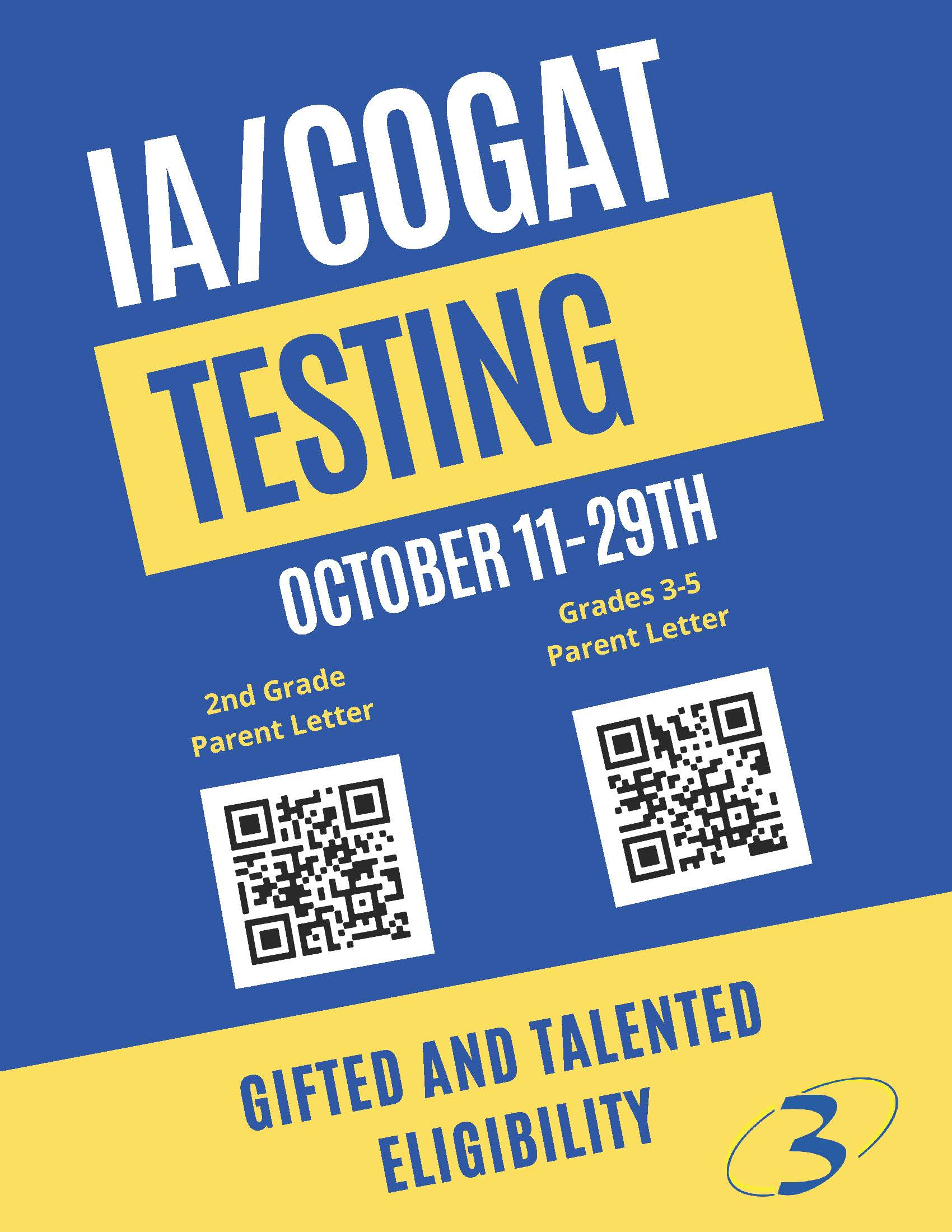 IA/COGAT testing with QR codes