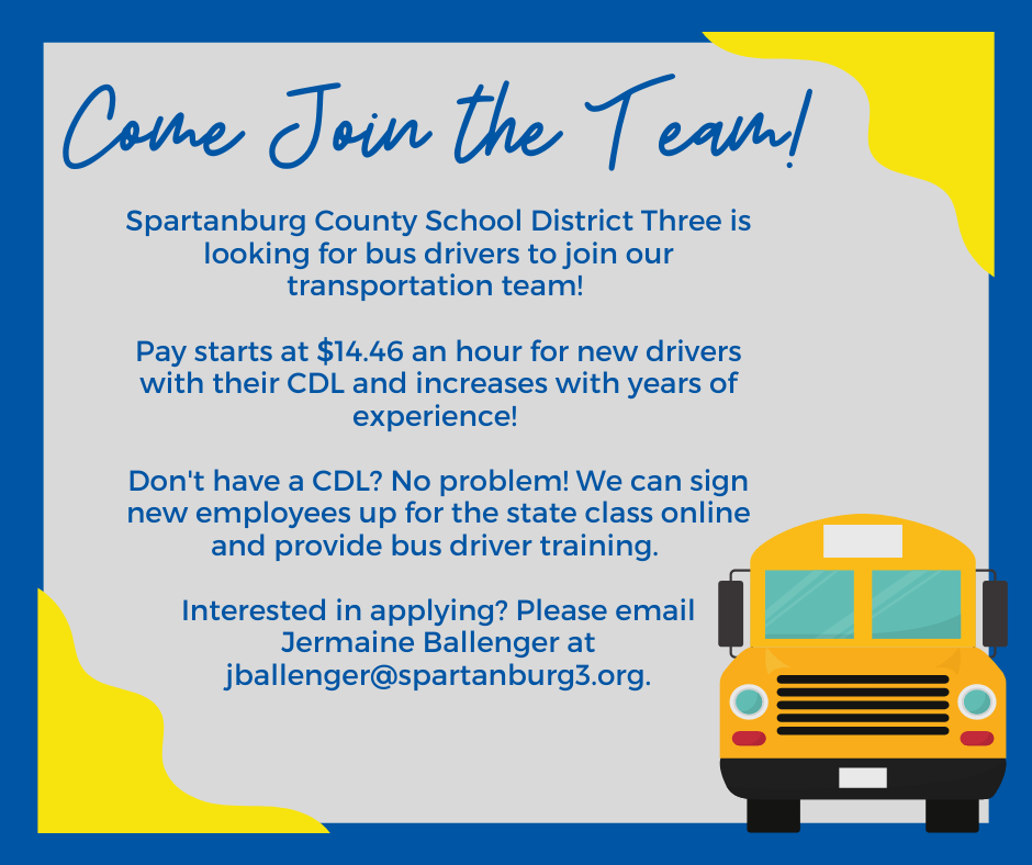 email jballenger@spartanburg3.org if you're interested in applying to be a bus driver!