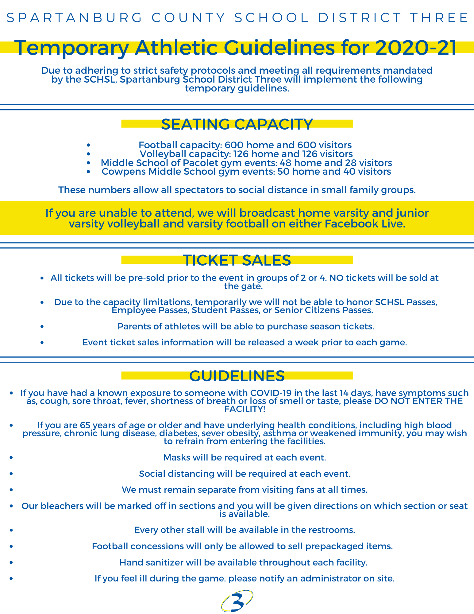 Due to adhering to strict safety protocols and meeting all requirements mandated by the SCHSL, Spartanburg School District Three will implement the following temporary guidelines. Seating Capacity •	Football Capacity: 600 Home and 600 Visitors •	Volleyball Capacity: 126 Home and 126 Visitors •	Middle School of Pacolet gym events: 48 Home and 28 Visitors •	Cowpens Middle School gym events: 50 Home and 40 Visitors If you are unable to attend, we will broadcast home varsity and junior varsity volleyball and varsity football on either Facebook live or YouTube.   Ticket Sales •	All tickets will be pre-sold prior to the event in groups of 2 or 4. NO tickets will be sold at the gate.  •	Due to the capacity limitations, temporarily we will not be able to honor SCHSL Passes, Employee Passes or Senior Citizens Passes.   •	Parents of athletes will be able to purchase season tickets.    •	Event tickets  Guidelines •	If you have had had a known exposure to someone with COVID-19 in the last 14 days, have symptoms such as, cough, sore throat, fever, shortness of breath or loss of smell or taste please DO NOT ENTER THE FACILITY! •	If you are 65 years of age or older and have underlying health conditions including high blood pressure, chronic lung disease, diabetes, sever obesity, asthma or weakened immunity, you may wish to refrain from entering the facilities •	Mask will be required at each event. •	Social Distancing will be required at each event. •	We must remain separate from visiting fans at all times. •	Our bleachers will be marked off in sections and you will be given directions on which section or seat is available. •	Every other stall will be available in the restrooms. •	Football Concessions will only be allowed to sale prepackaged items.   •	Hand sanitizer will be available throughout each facility •	If you feel ill during the contest, please notify an administrator on site.