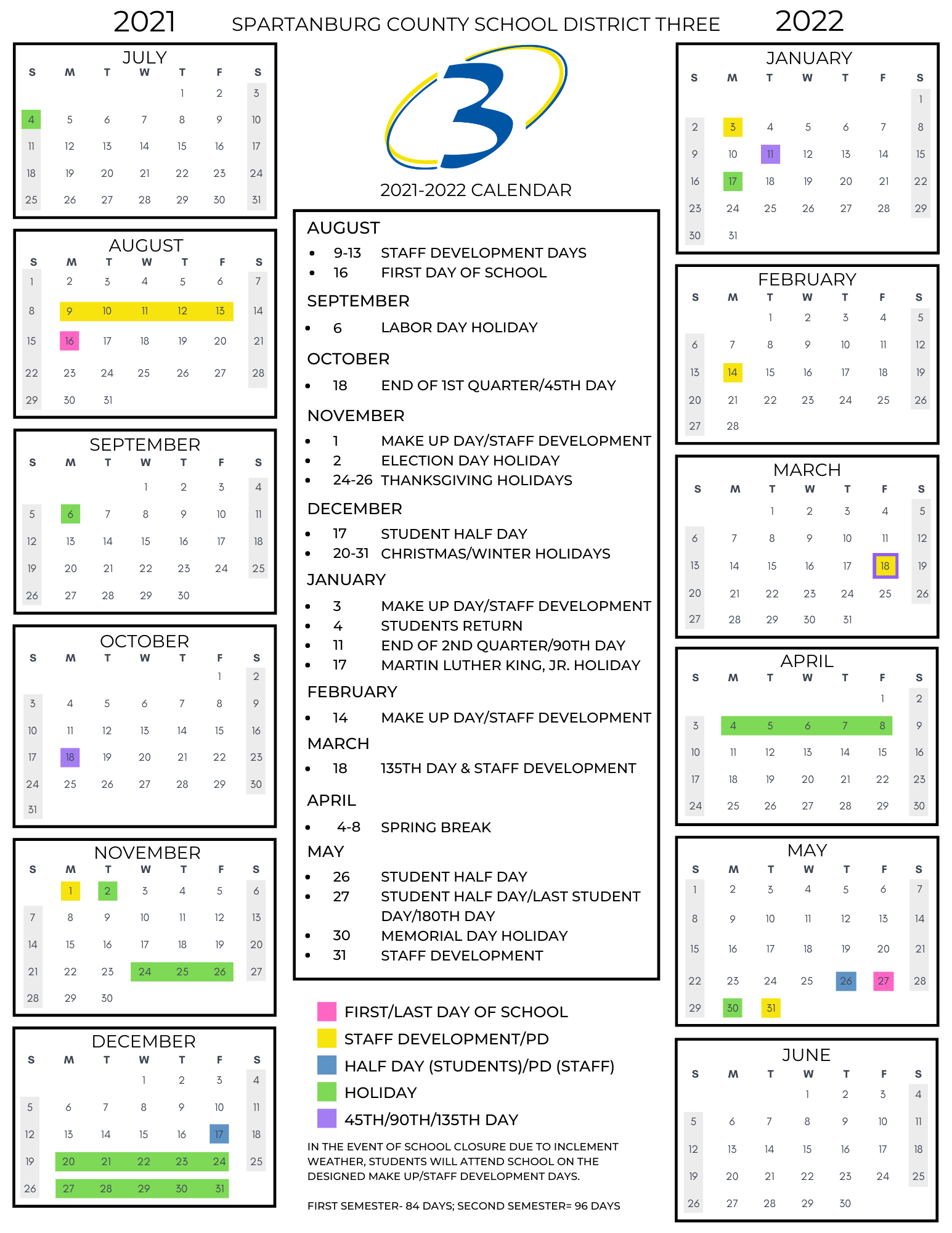 for an ada friendly version of the calendar, please email amyles@spartanburg3.org