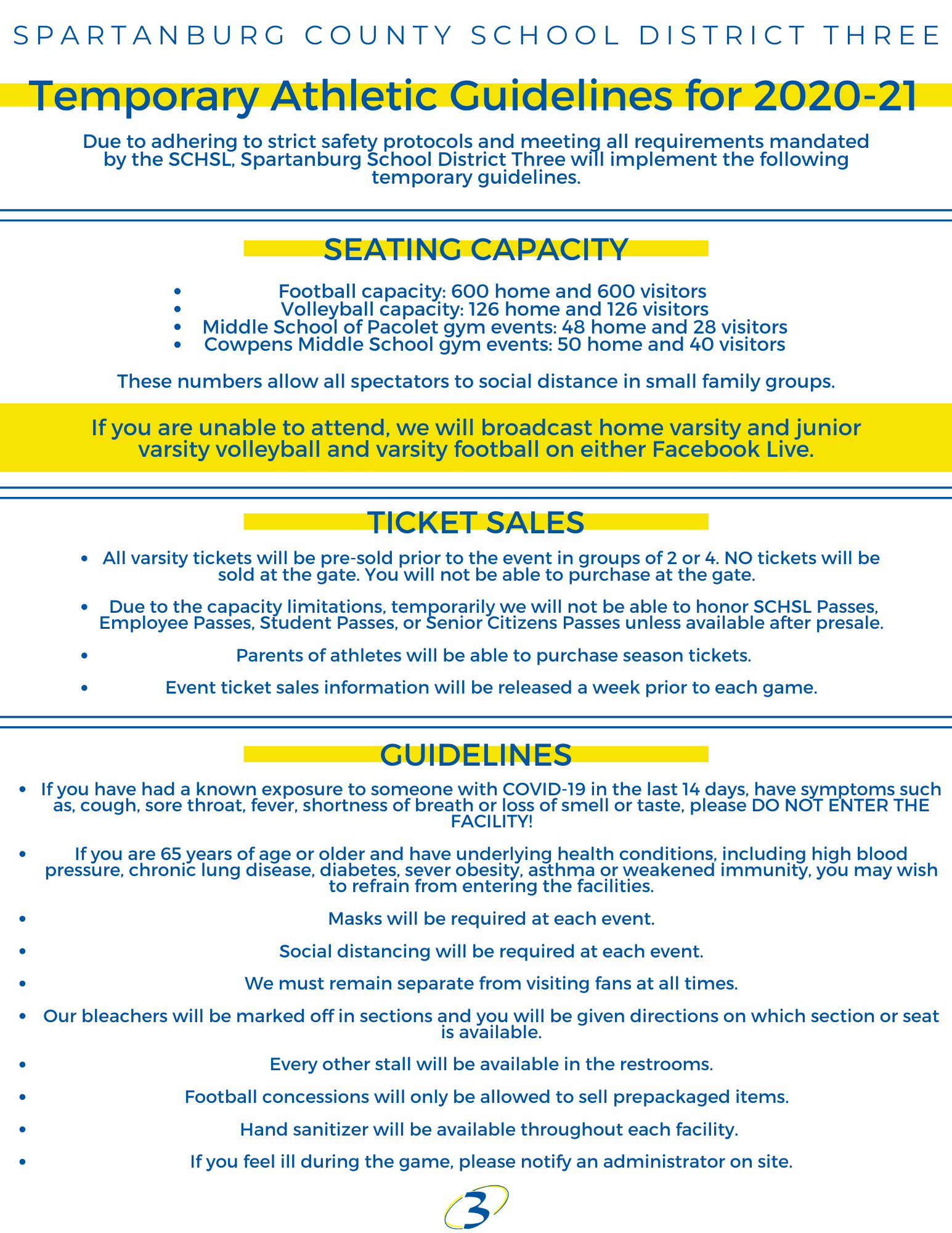 Due to adhering to strict safety protocols and meeting all requirements mandated by the SCHSL, Spartanburg School District Three will implement the following temporary guidelines. Seating Capacity •Football Capacity: 600 Home and 600 Visitors •Volleyball Capacity: 126 Home and 126 Visitors •Middle School of Pacolet gym events: 48 Home and 28 Visitors •Cowpens Middle School gym events: 50 Home and 40 Visitors If you are unable to attend, we will broadcast home varsity and junior varsity volleyball and varsity football on either Facebook live or YouTube.   Ticket Sales •All varsity tickets will be pre-sold prior to the event in groups of 2 or 4. NO tickets will be sold at the gate.  •Due to the capacity limitations, temporarily we will not be able to honor SCHSL Passes, Employee Passes, student passes or Senior Citizens Passes until after presale ends.   •Parents of athletes will be able to purchase season tickets.    •Event tickets  Guidelines •If you have had had a known exposure to someone with COVID-19 in the last 14 days, have symptoms such as, cough, sore throat, fever, shortness of breath or loss of smell or taste please DO NOT ENTER THE FACILITY! •If you are 65 years of age or older and have underlying health conditions including high blood pressure, chronic lung disease, diabetes, sever obesity, asthma or weakened immunity, you may wish to refrain from entering the facilities •Mask will be required at each event. •Social Distancing will be required at each event. •We must remain separate from visiting fans at all times. •Our bleachers will be marked off in sections and you will be given directions on which section or seat is available. •Every other stall will be available in the restrooms. •Football Concessions will only be allowed to sale prepackaged items.   •Hand sanitizer will be available throughout each facility •If you feel ill during the contest, please notify an administrator on site.