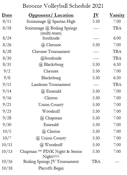 volleyball schedule. email amyles@spartanburg3.org for an ada friendly version of this schedule