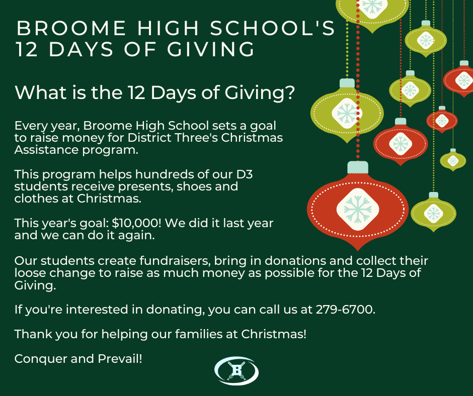 Please contact amyles@spartanburg3.org for details on 12 days of giving