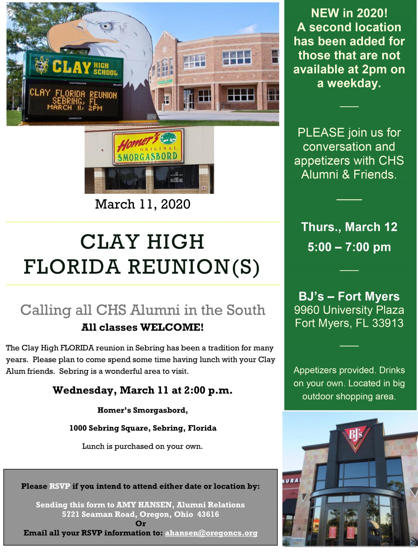 Florida Reunion Information