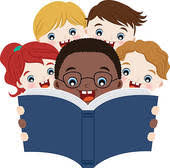 Five students reading a book clipart