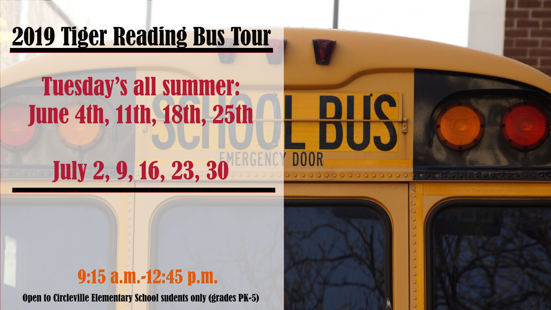 Summer reading bus schedule.