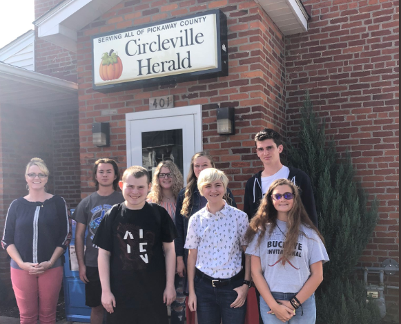 Leading the way!  @CirclevilleCity  led all county schools with SEVEN artists selected for the annual  @CirclevilleNews  Pumpkin Show publication. Each student's work was purchased by an area business and will be displayed in their front office and receive a $75 check for their work