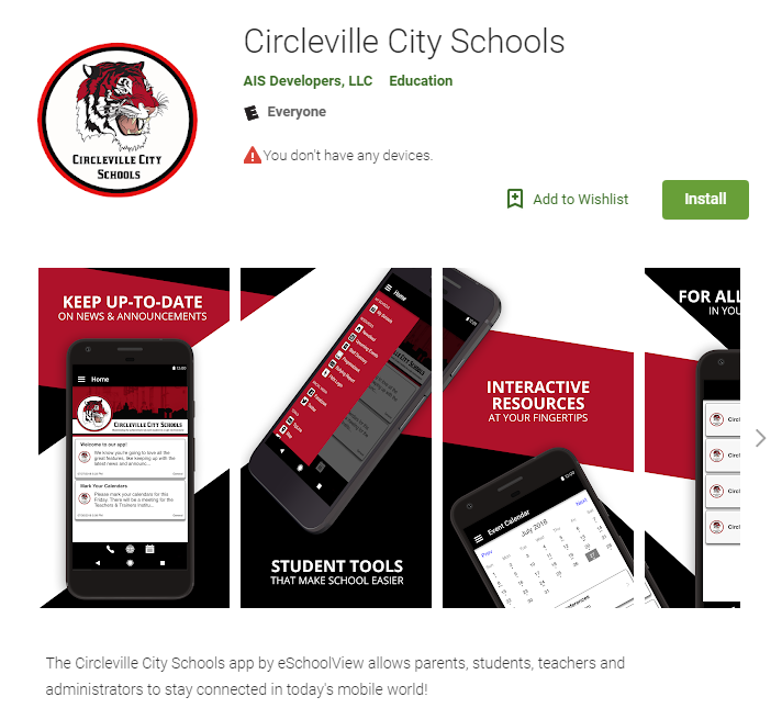 Circleville City Schools App visual from the app store
