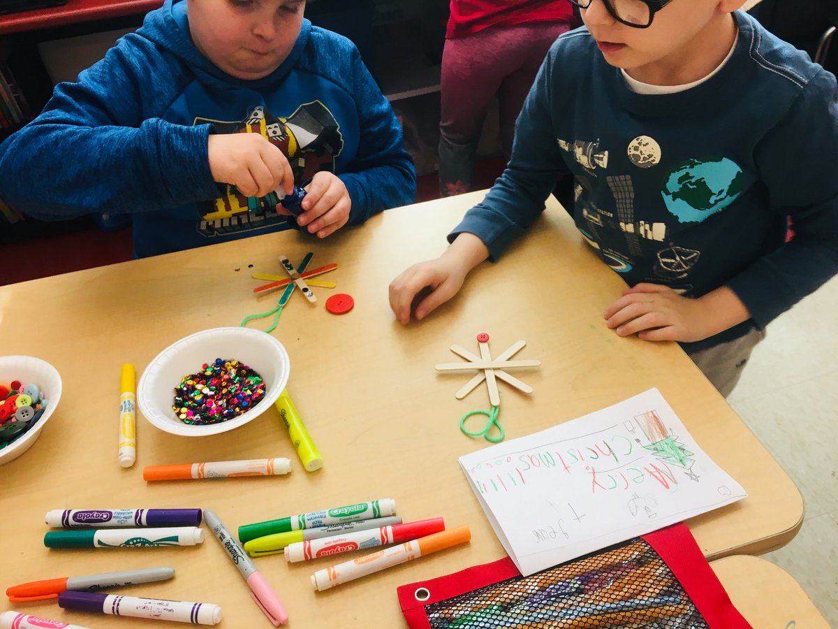CES students work on a holiday ornament project.