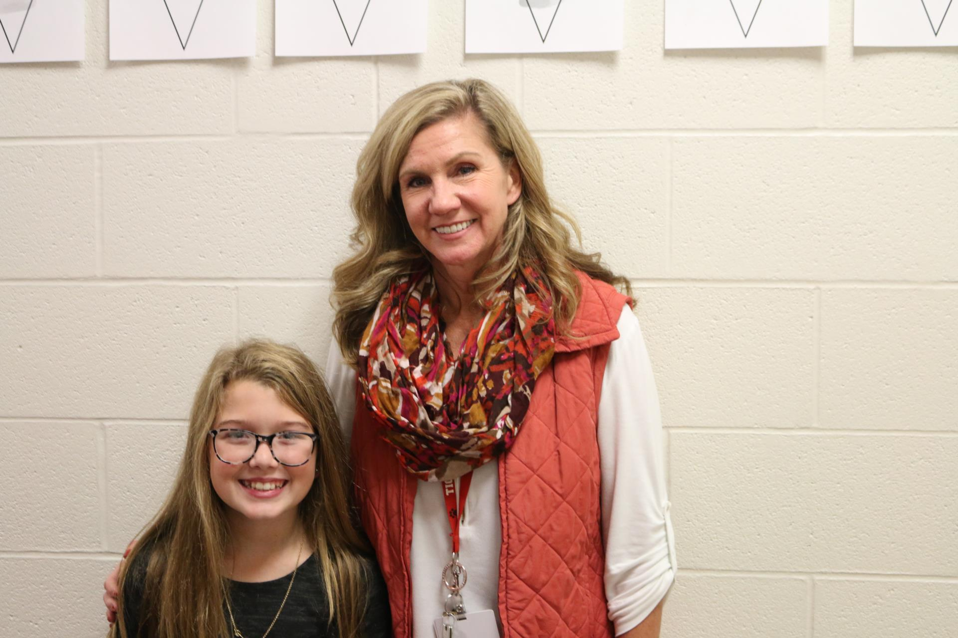 Mrs. Moats poses for a photo with winner Addy Powers