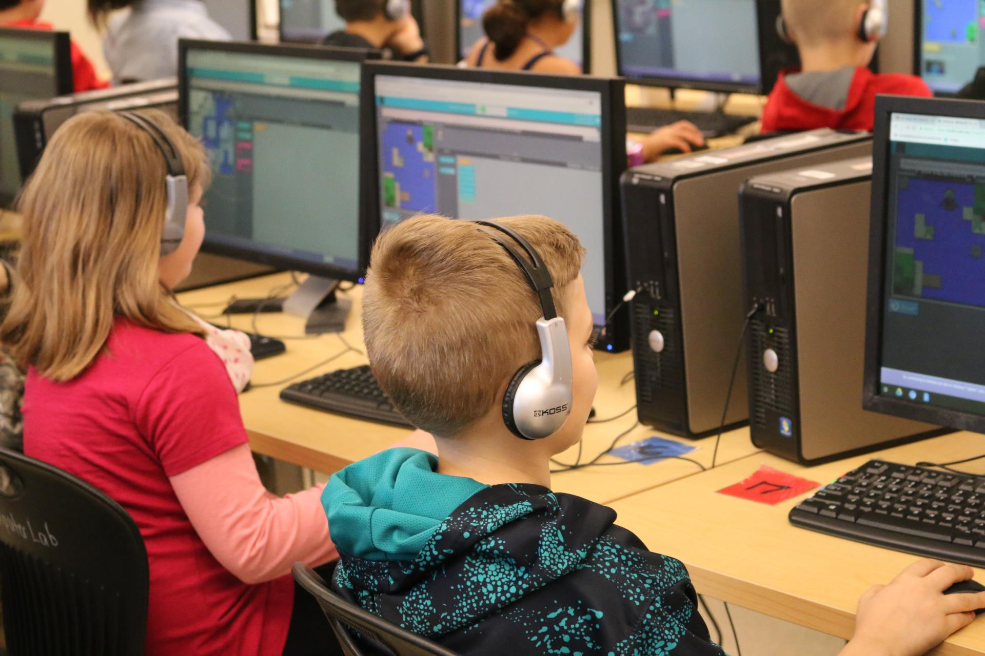 Students learn to code at CES.