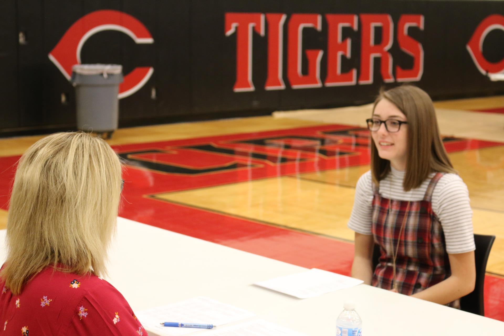 CHS senior Hailie Anderson interviews with Julie Stanley of the Circleville City Schools' District Office as a part of the Tiger Bootcamp Friday.