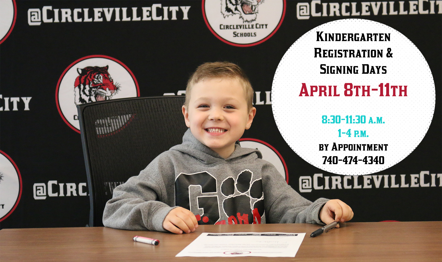 Kindergarten registration for the 2019-2020 school year will take place April 8th-11th on campus.